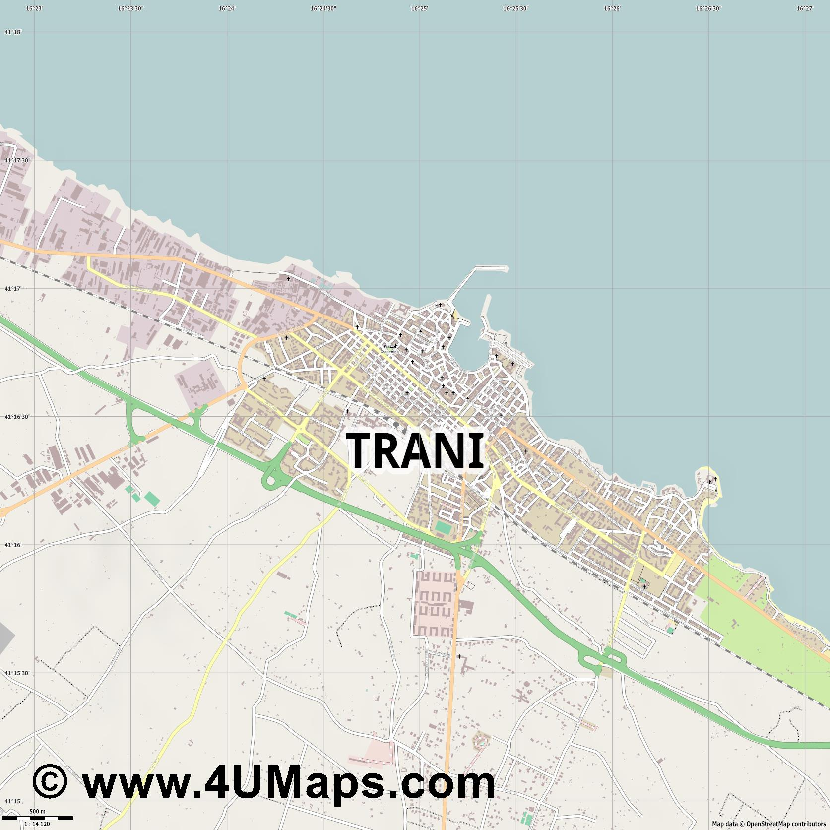 Trani  jpg ultra high detail preview vector city map