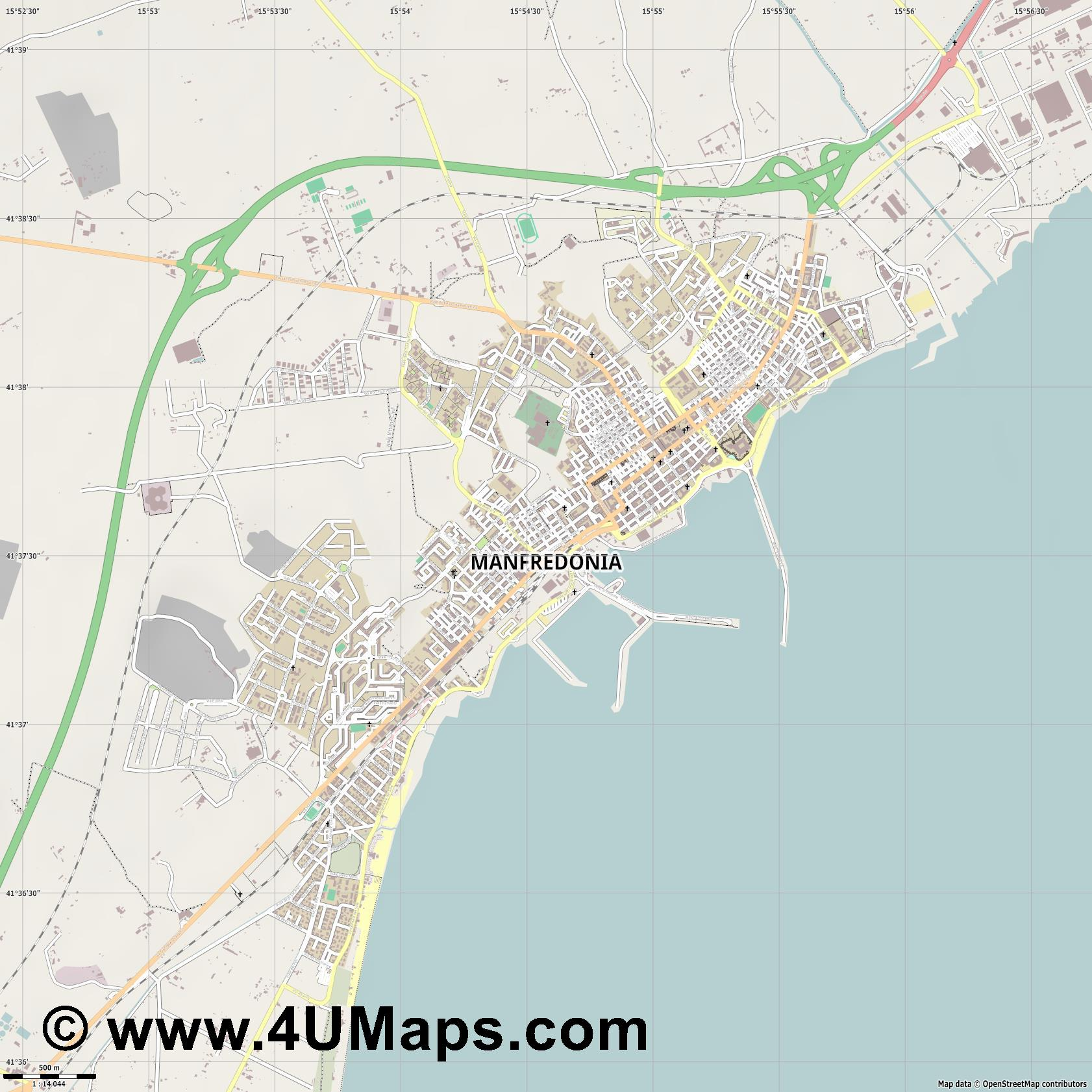 Manfredonia  jpg ultra high detail preview vector city map