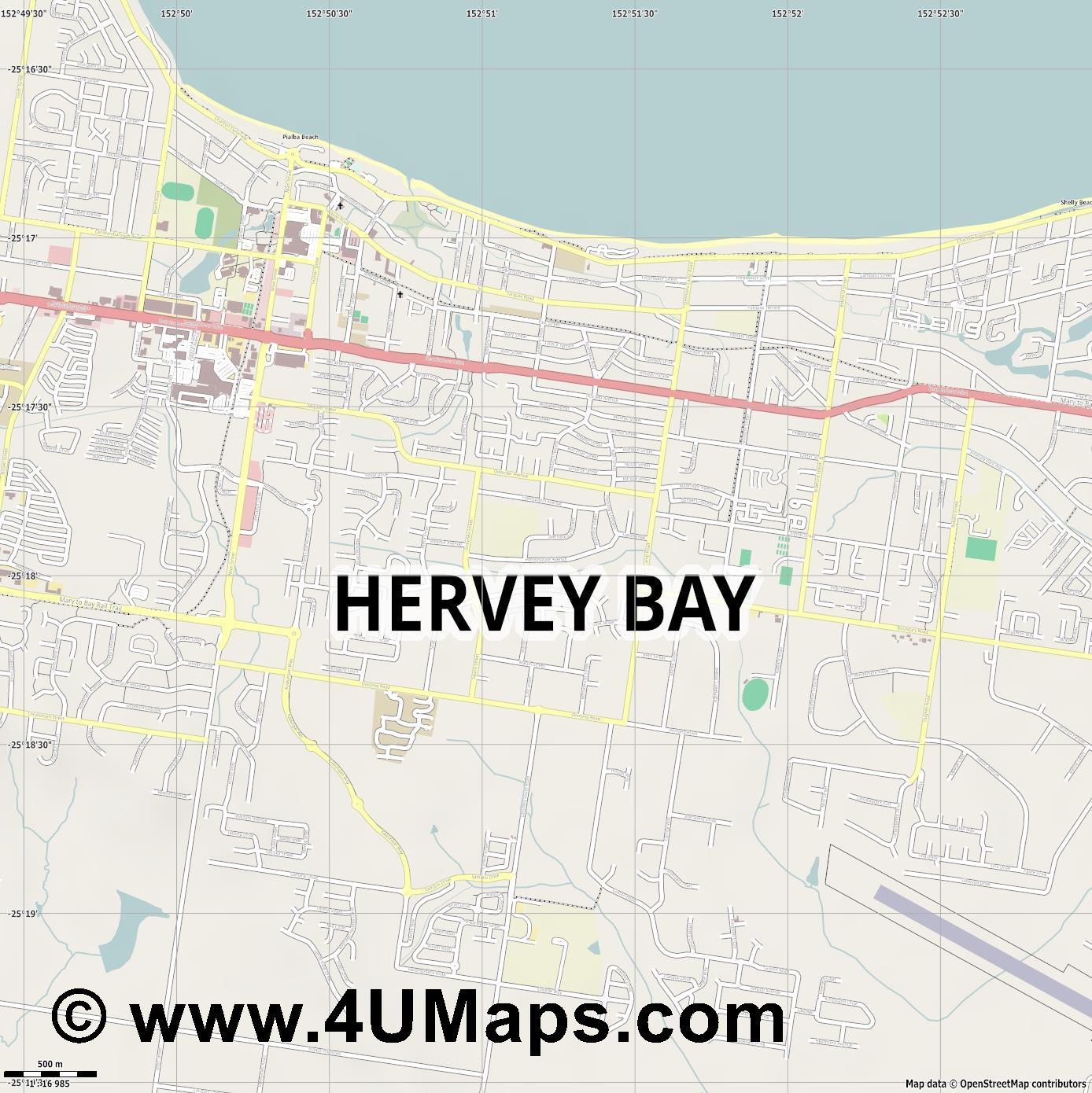 Hervey Bay  jpg ultra high detail preview vector city map
