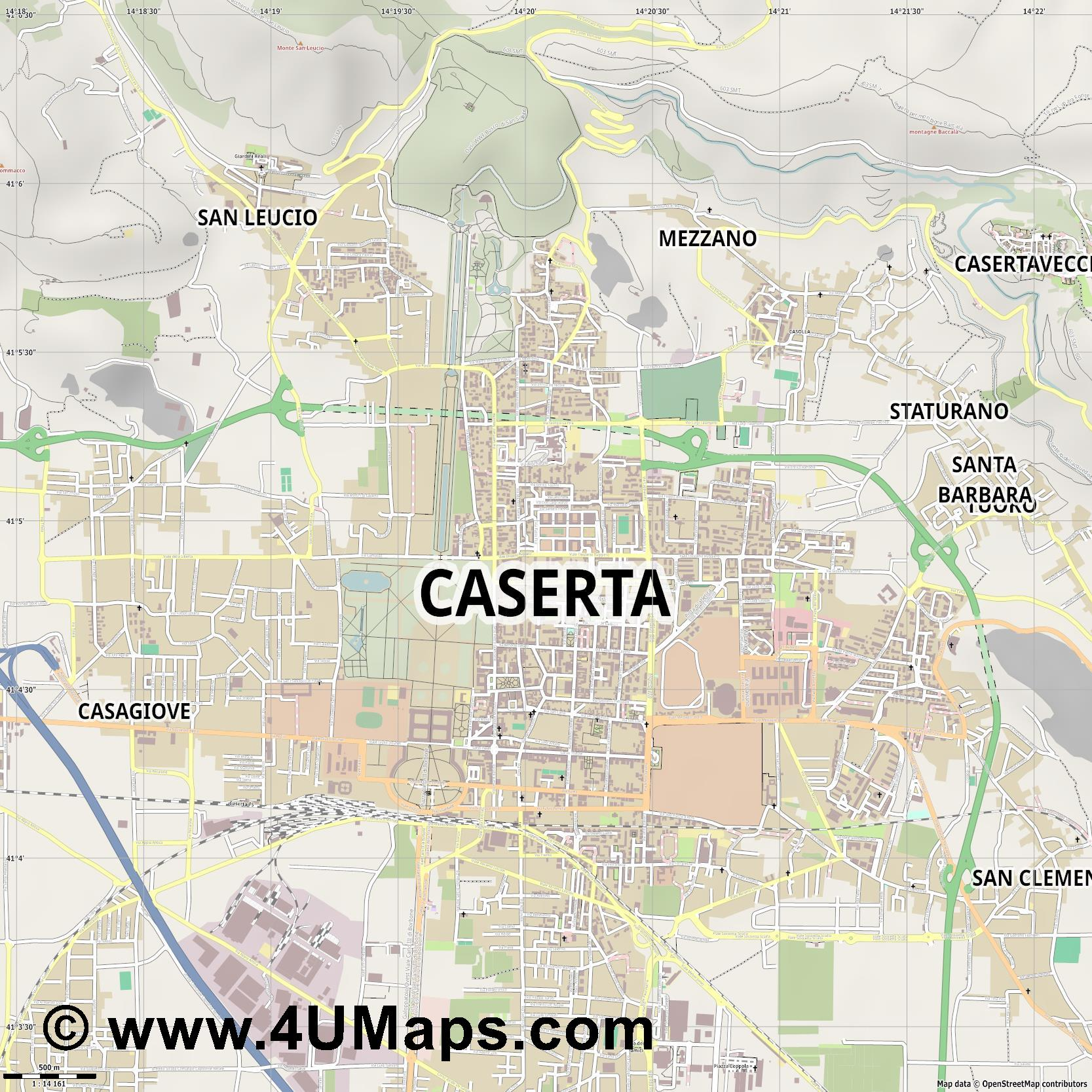 Caserta Caserte  jpg ultra high detail preview vector city map