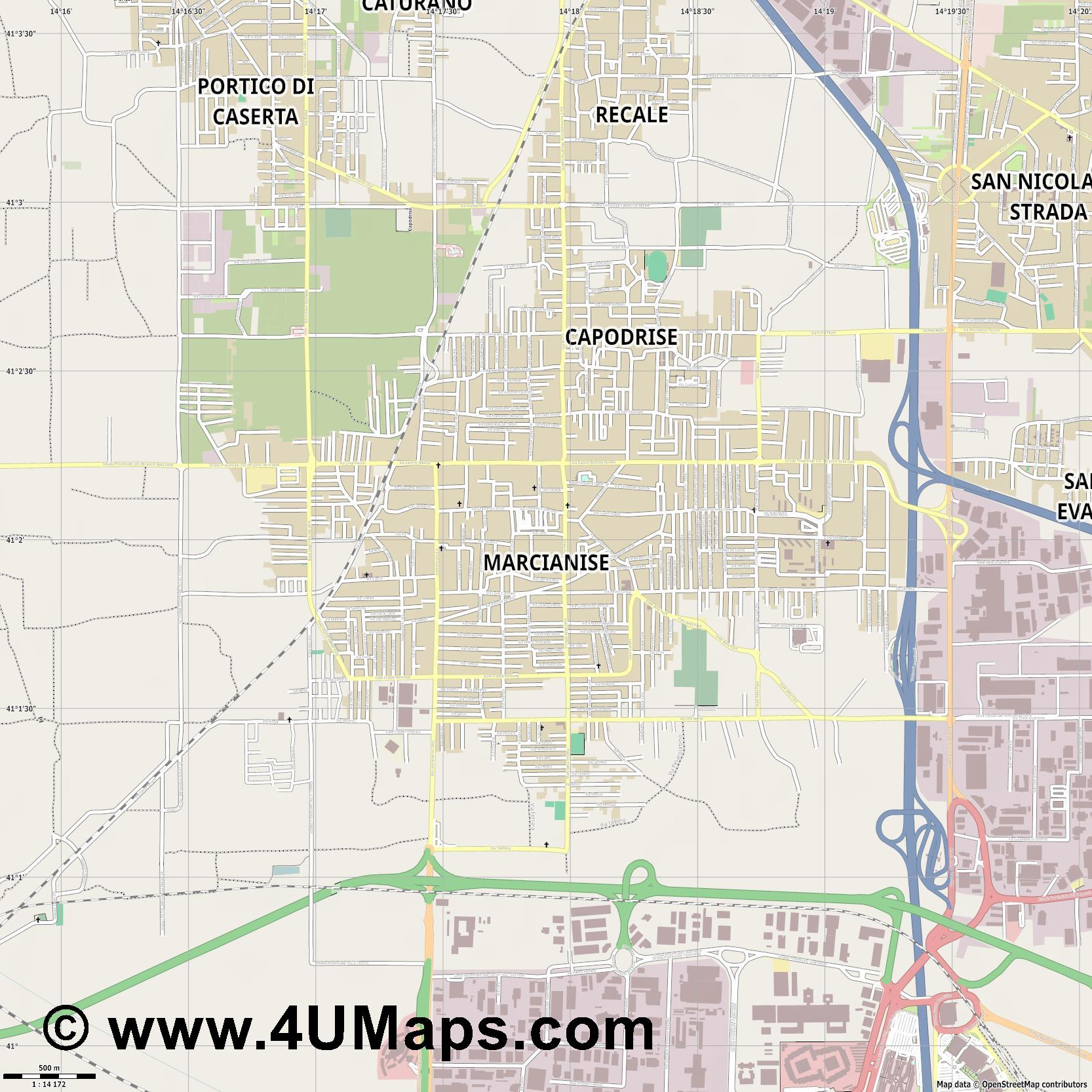 Marcianise  jpg ultra high detail preview vector city map
