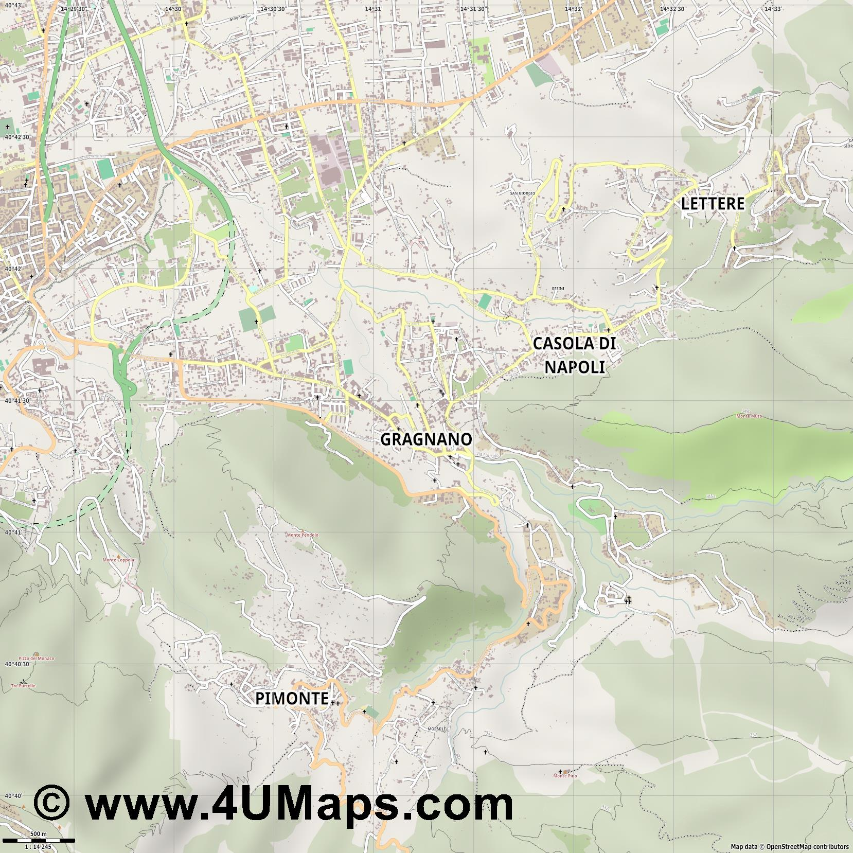 Gragnano  jpg ultra high detail preview vector city map