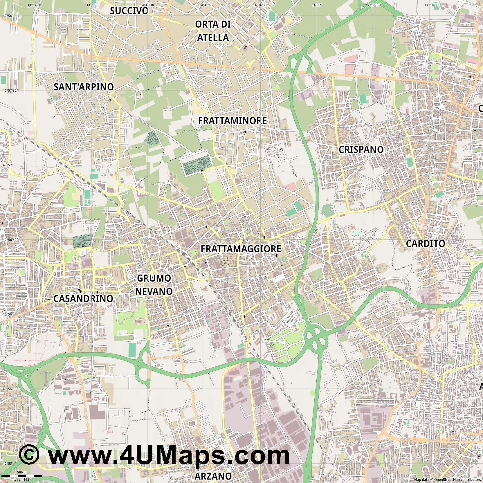 Frattamaggiore  jpg ultra high detail preview vector city map