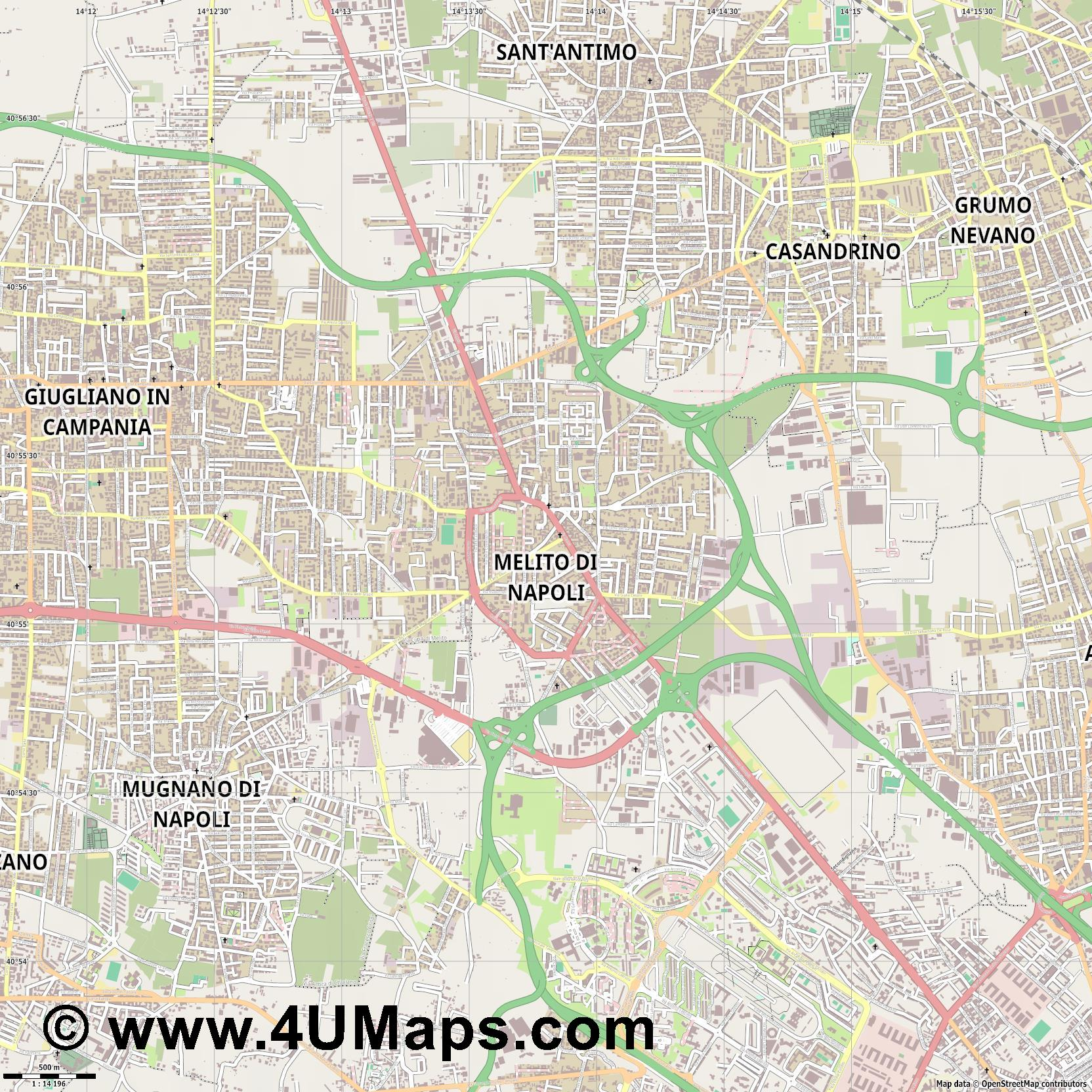 Melito di Napoli  jpg ultra high detail preview vector city map