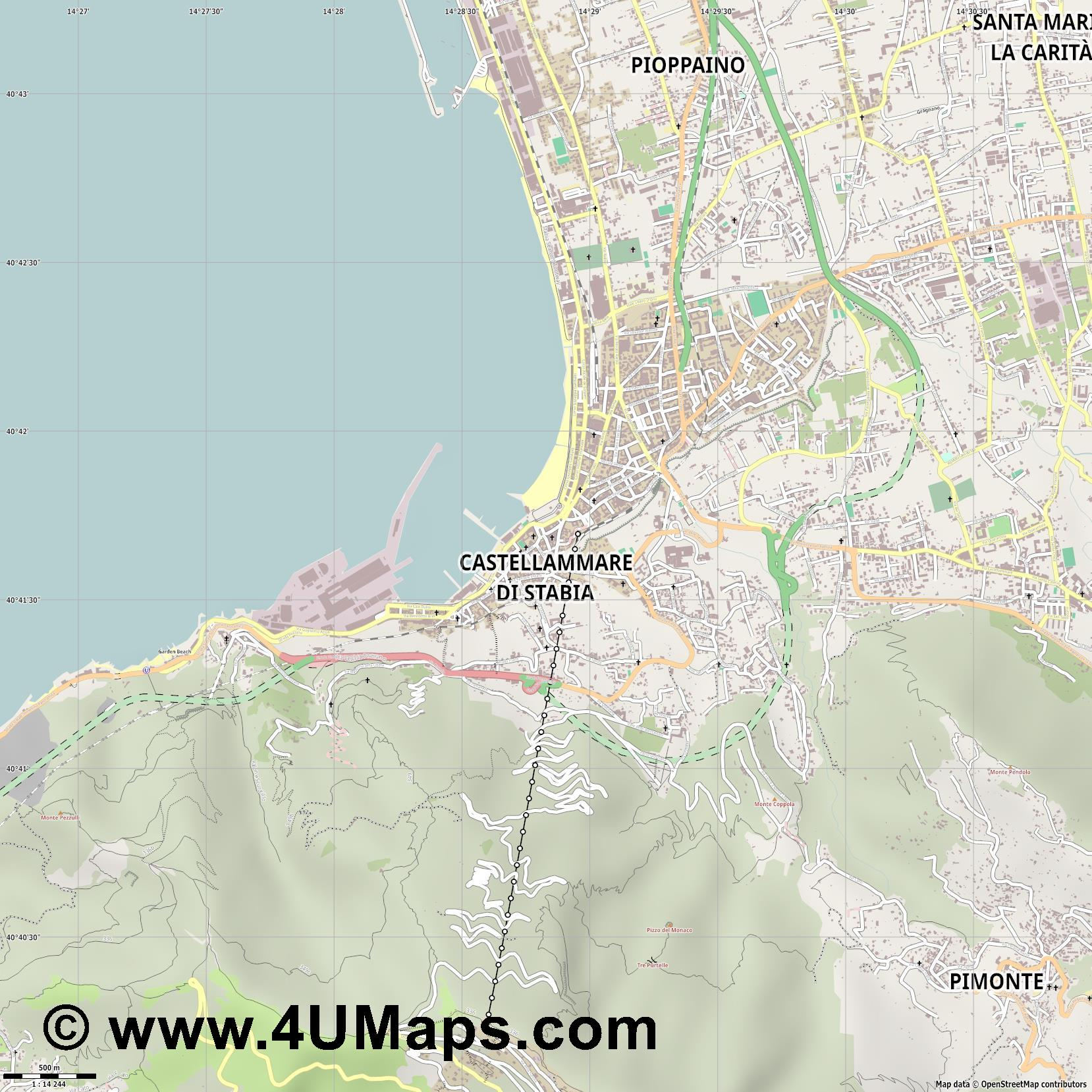 Castellammare di Stabia  jpg ultra high detail preview vector city map