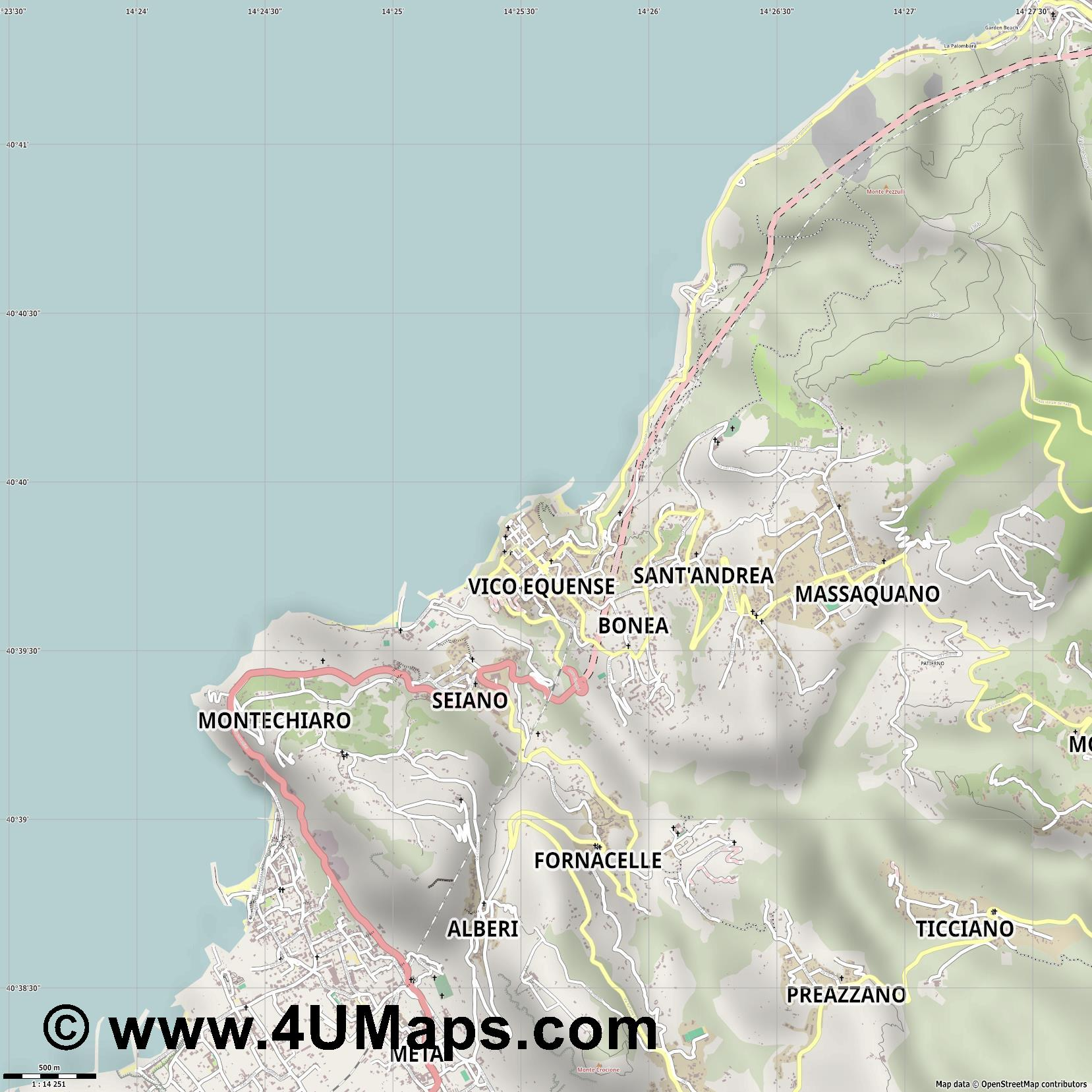 Vico Equense  jpg ultra high detail preview vector city map
