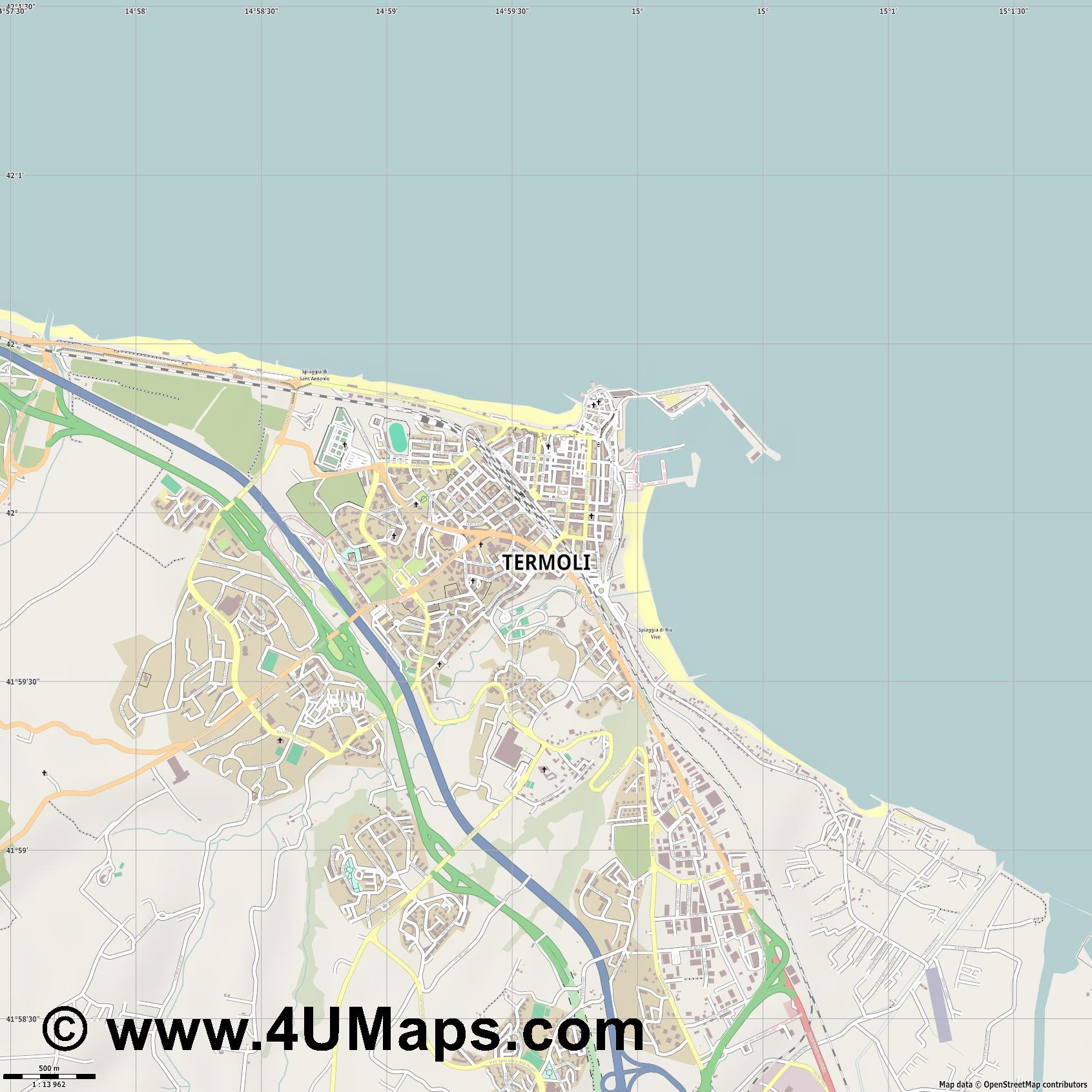 Termoli  jpg ultra high detail preview vector city map
