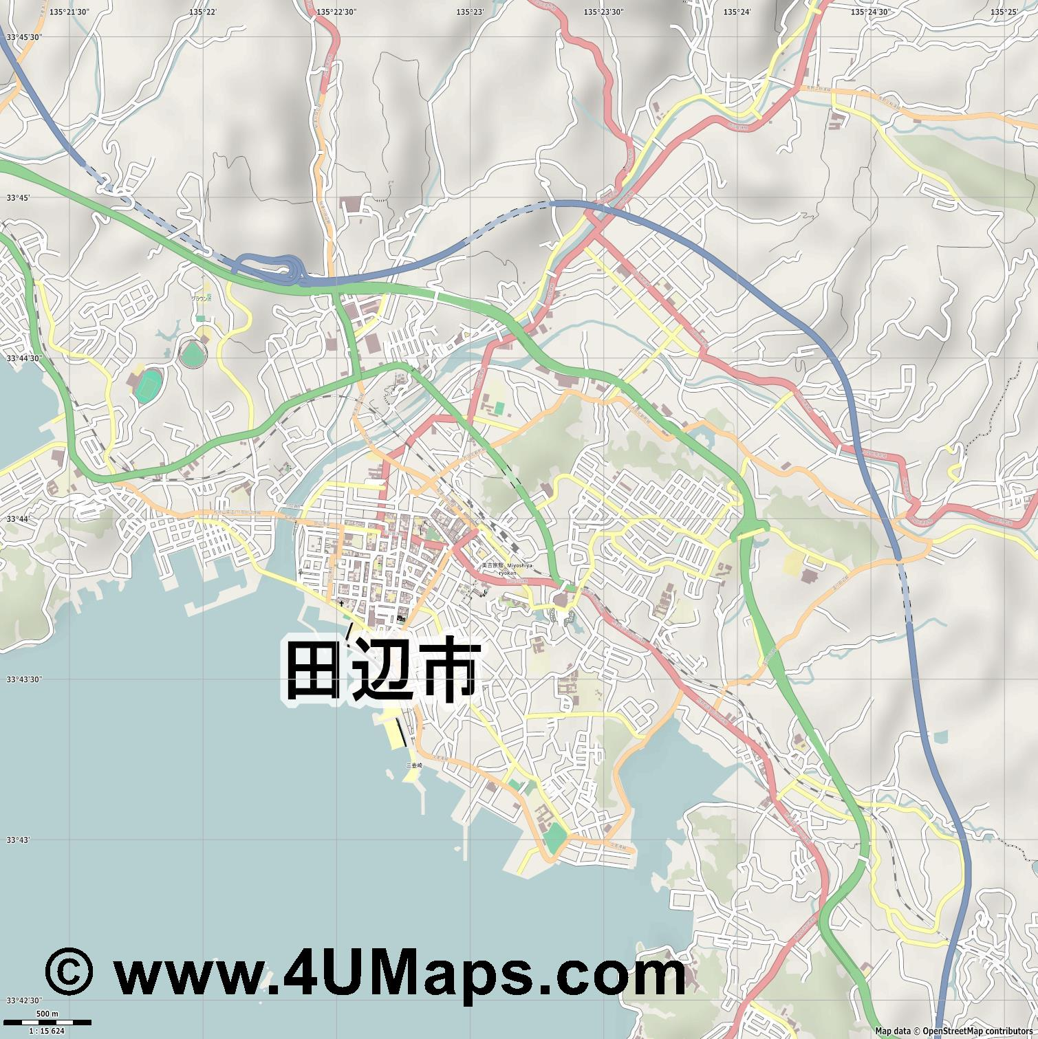 田辺市  Tanabe   jpg ultra high detail preview vector city map