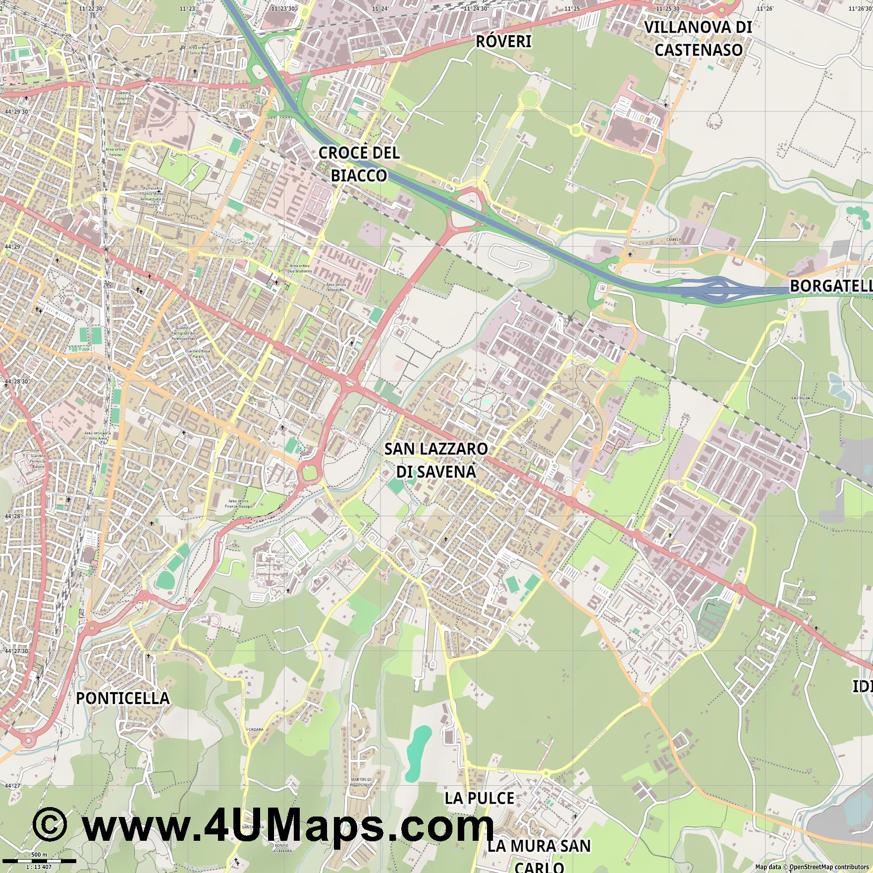 San Lazzaro di Savena  jpg ultra high detail preview vector city map