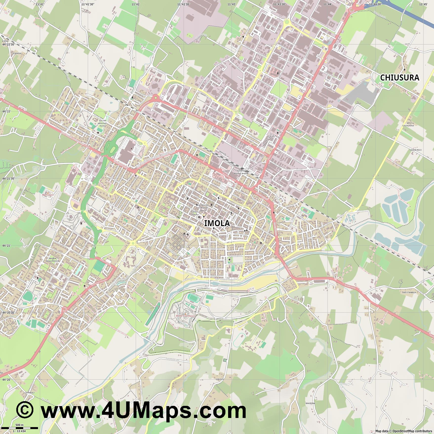 Imola  jpg ultra high detail preview vector city map