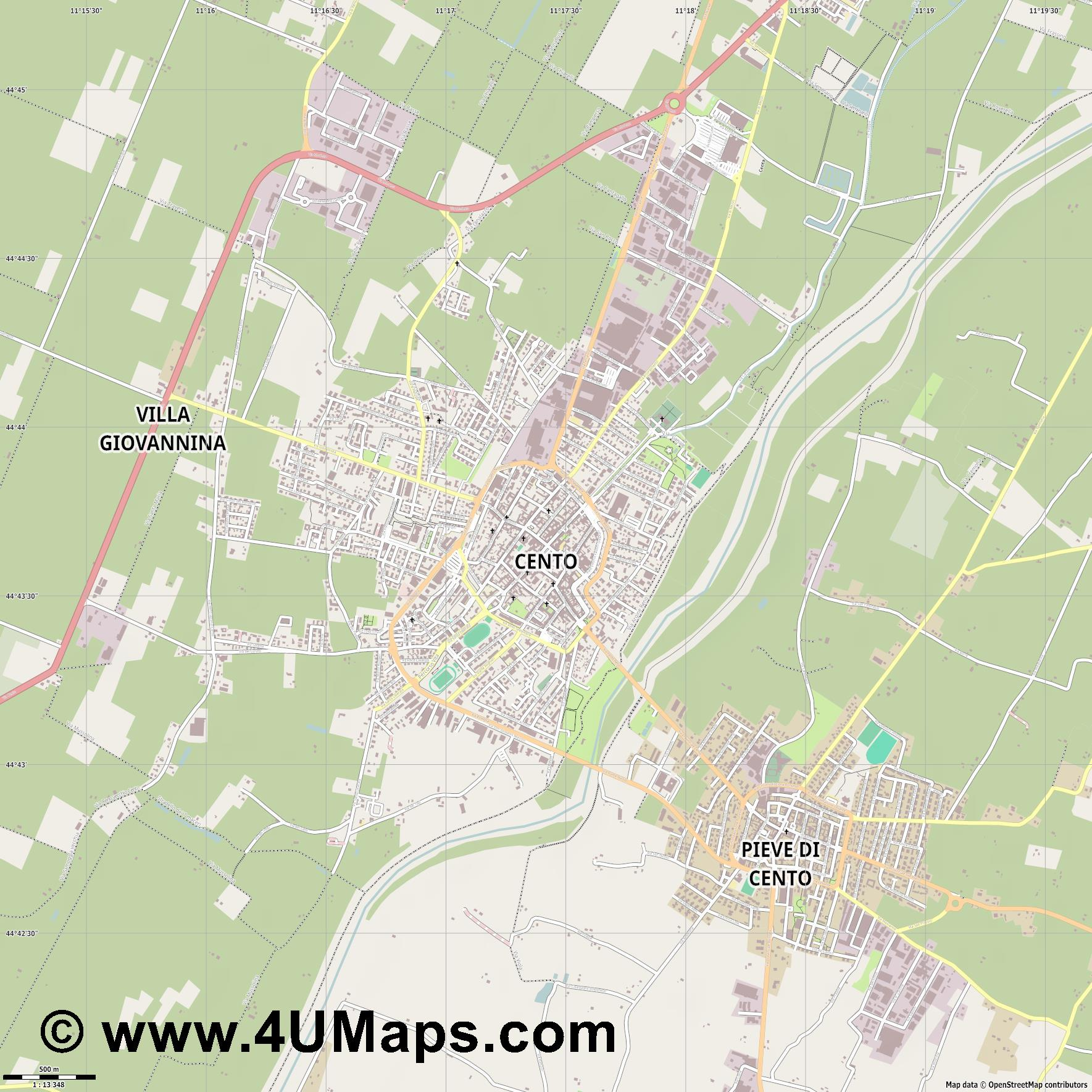 Cento  jpg ultra high detail preview vector city map