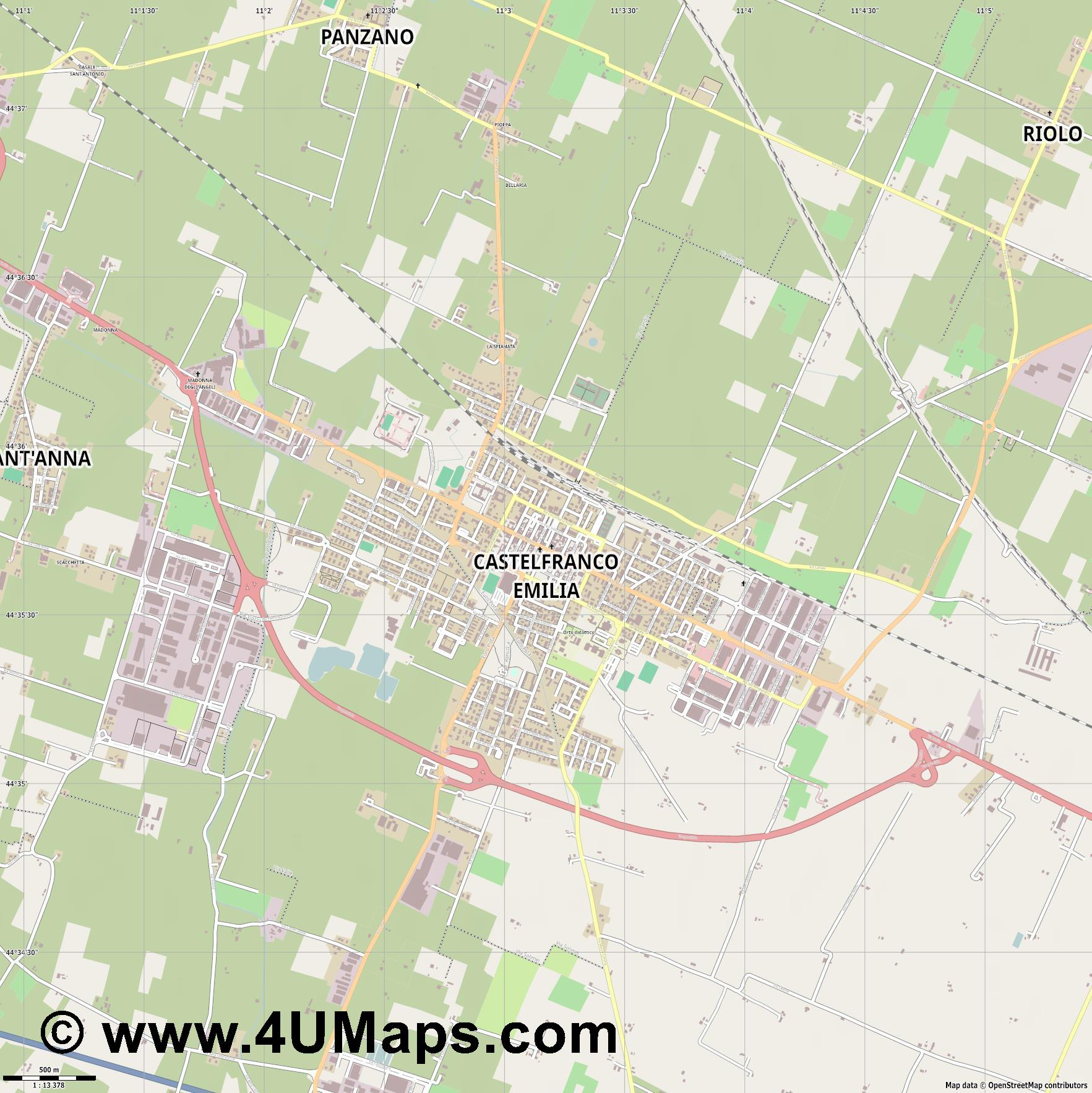 Castelfranco Emilia  jpg ultra high detail preview vector city map