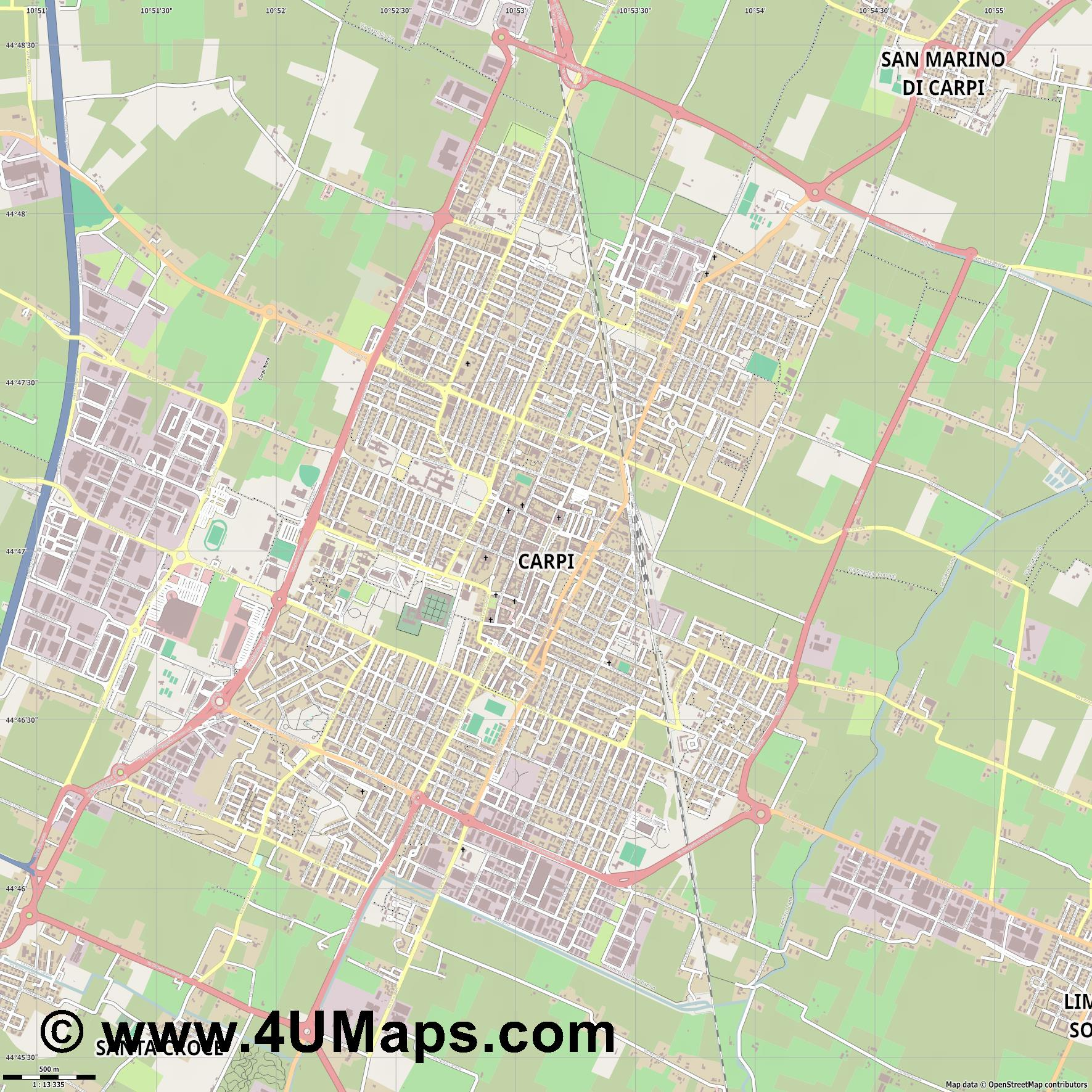 Carpi  jpg ultra high detail preview vector city map