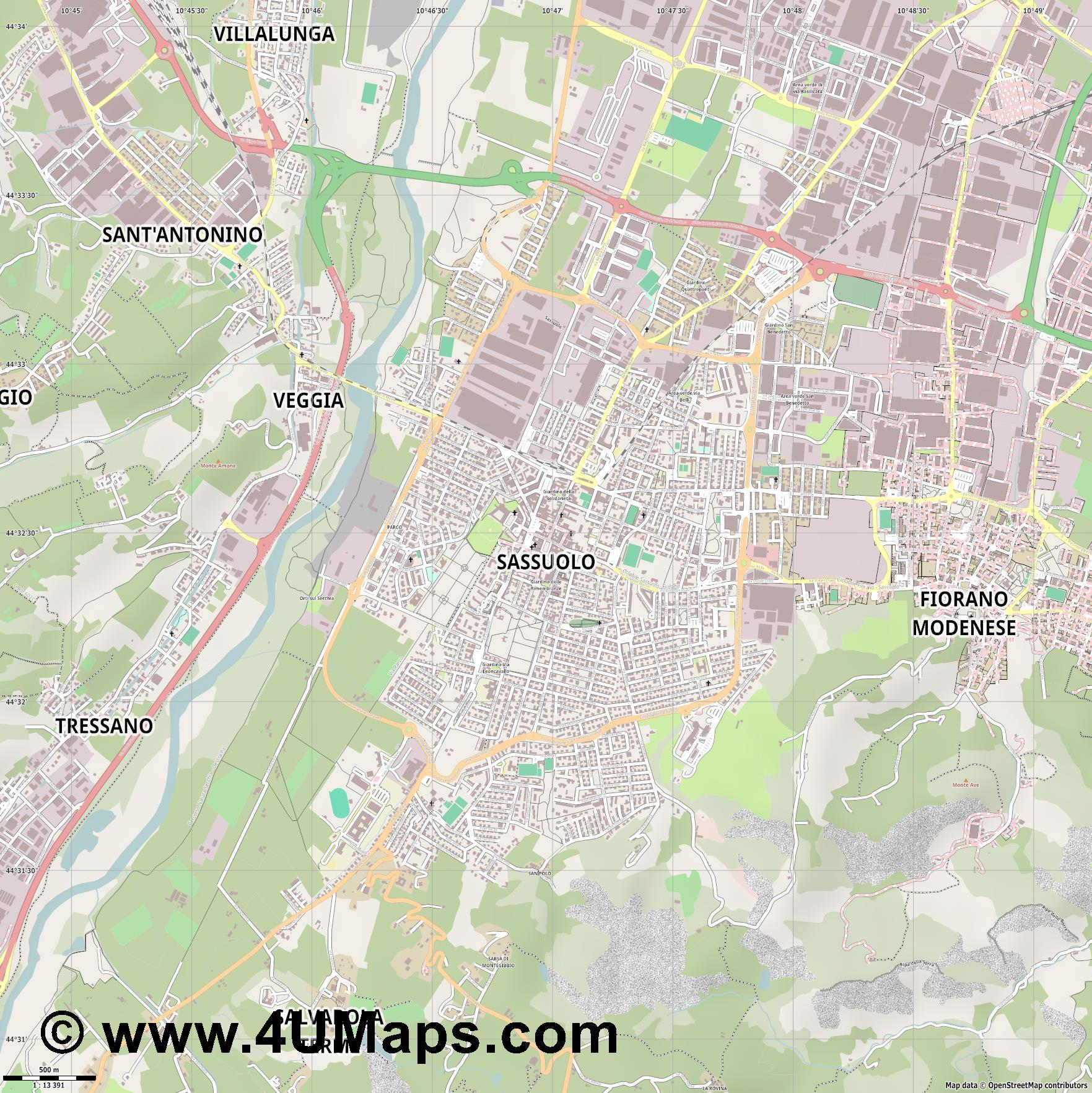 Sassuolo  jpg ultra high detail preview vector city map