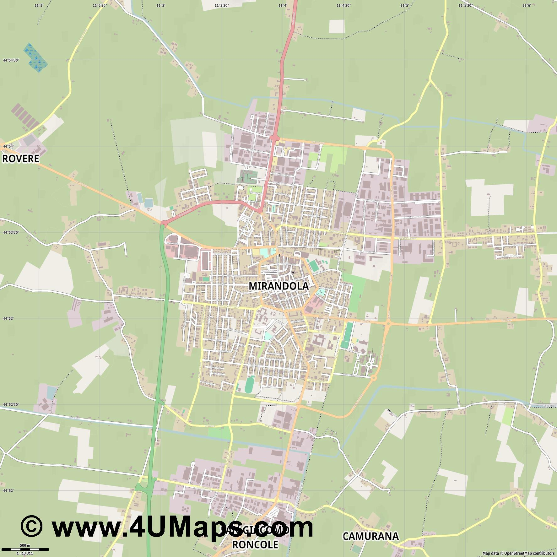 Mirandola  jpg ultra high detail preview vector city map