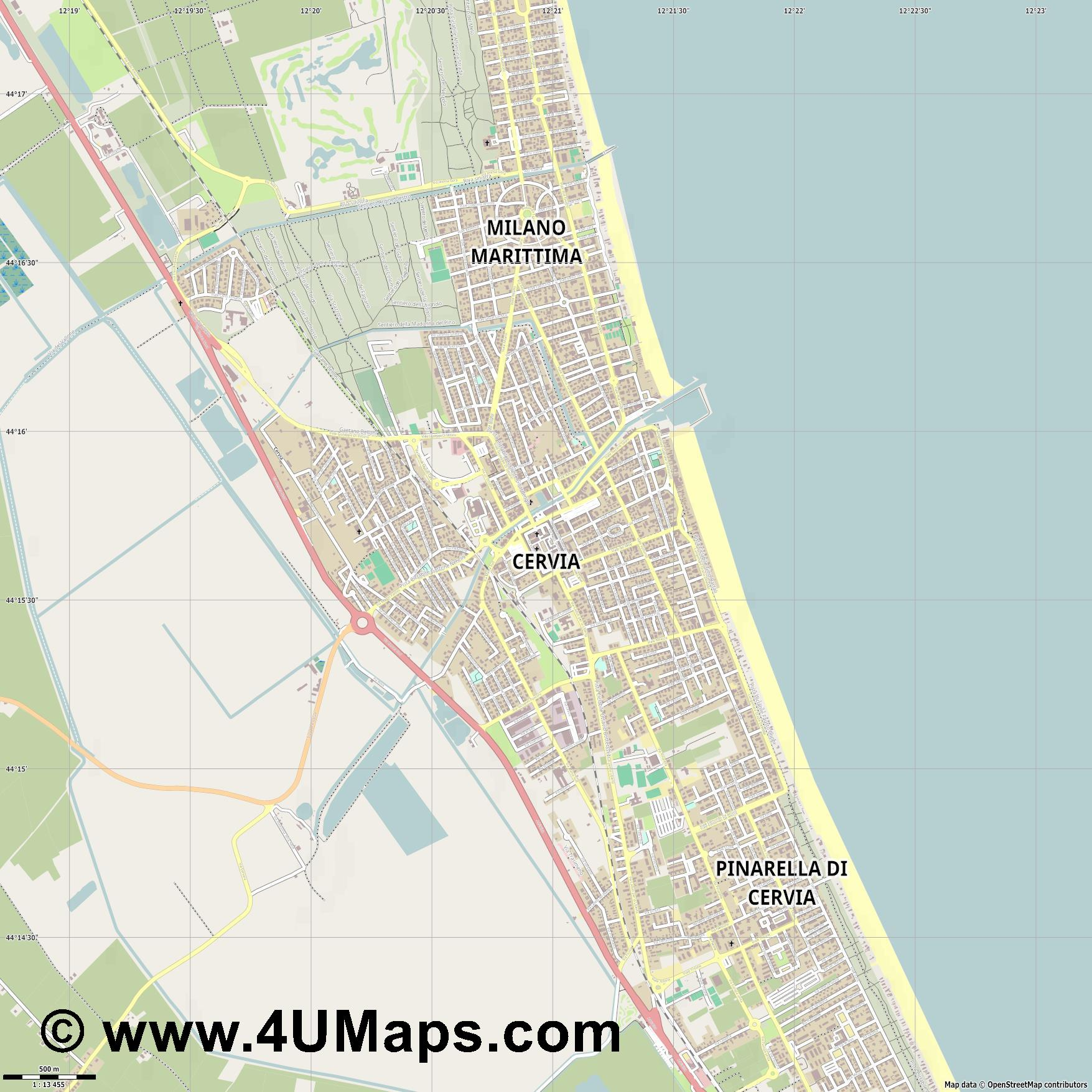 Cervia  jpg ultra high detail preview vector city map