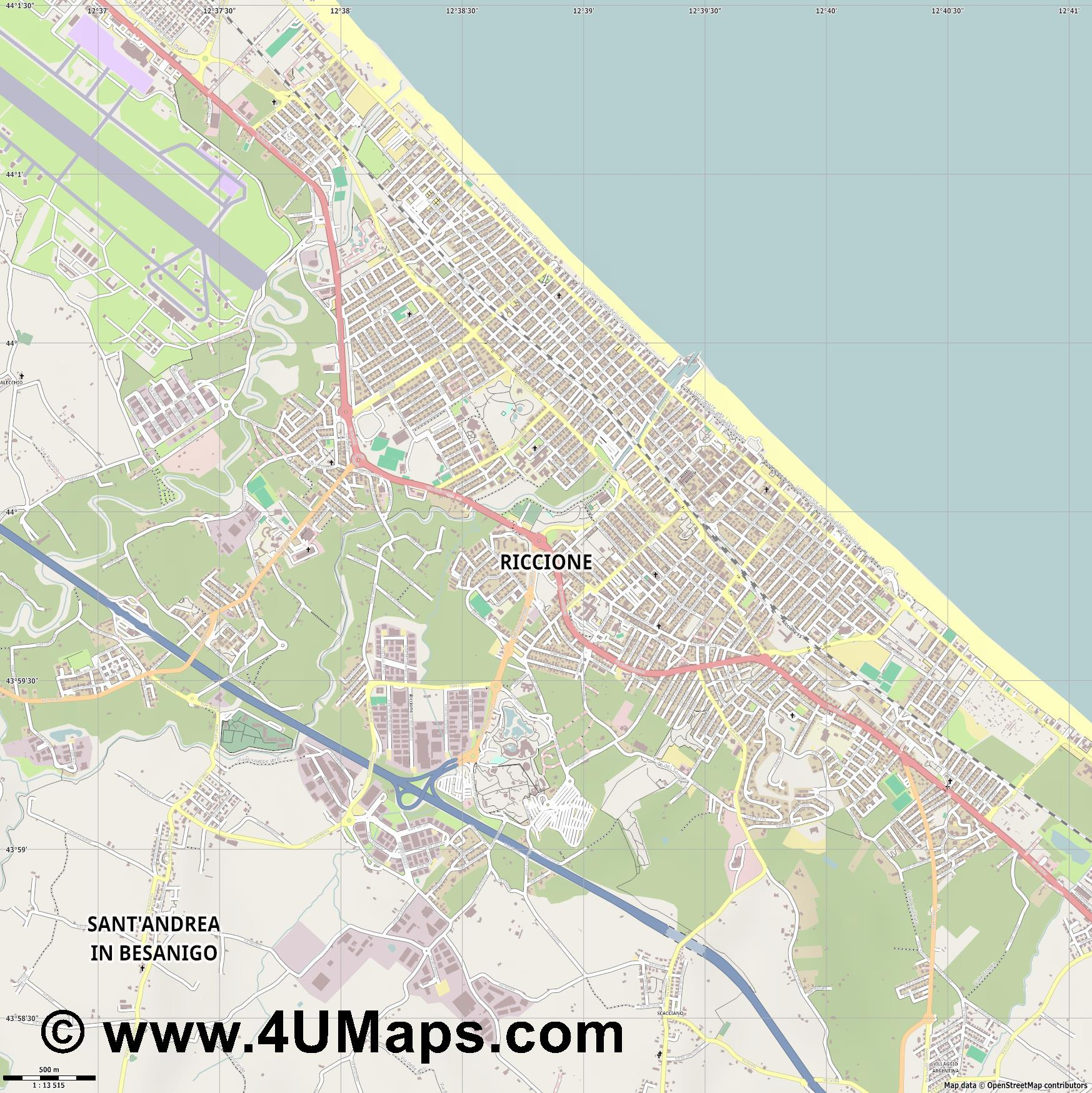 Riccione  jpg ultra high detail preview vector city map