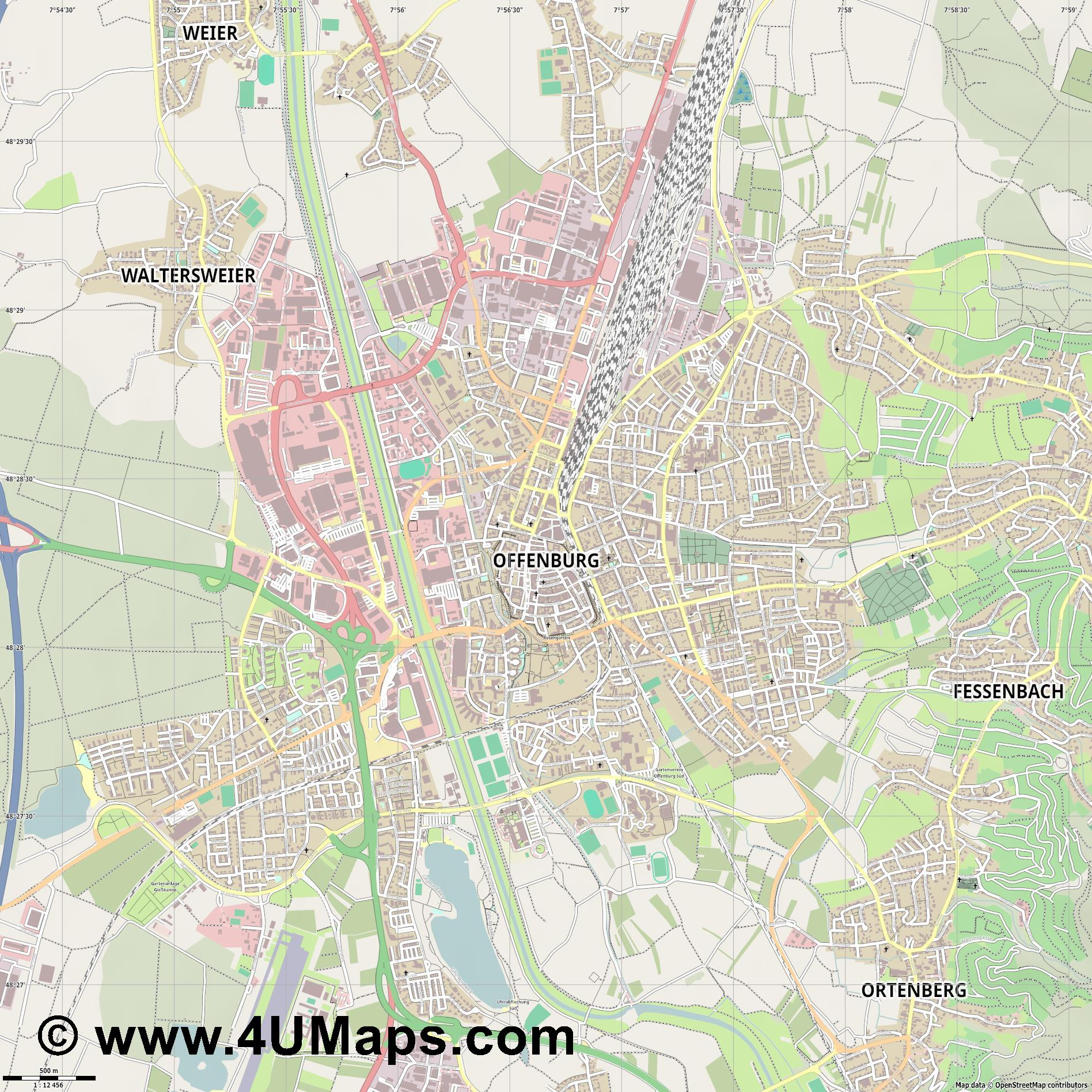 Offenburg Offenbourg  jpg ultra high detail preview vector city map