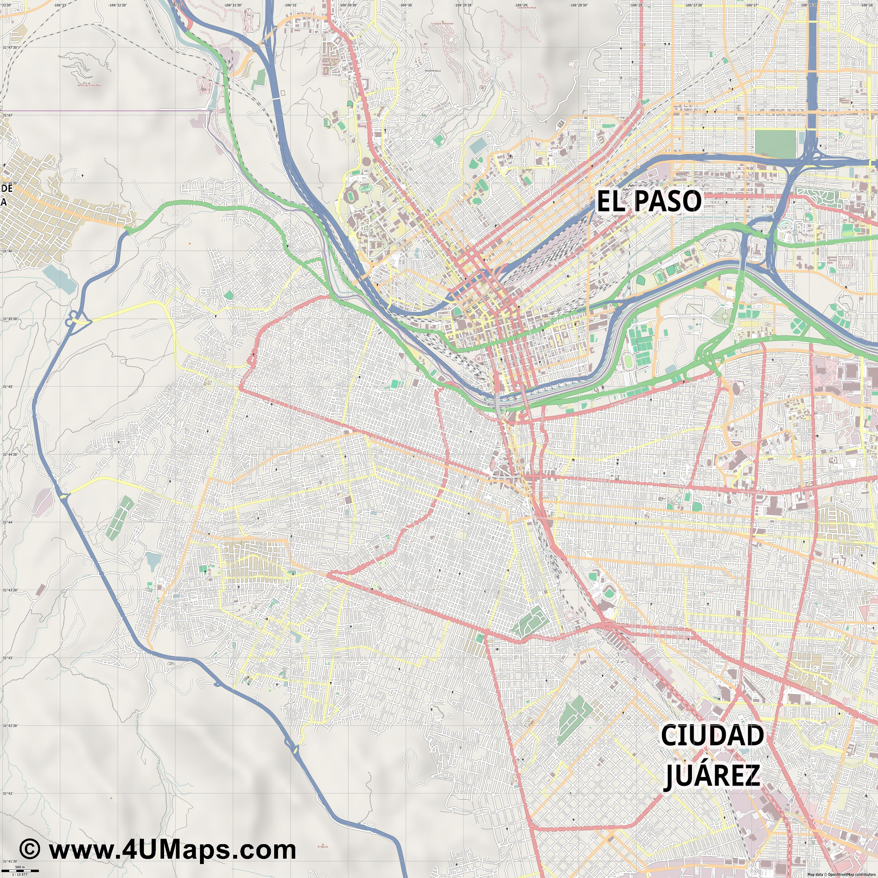 Ciudad Juárez  jpg ultra high detail preview vector city map