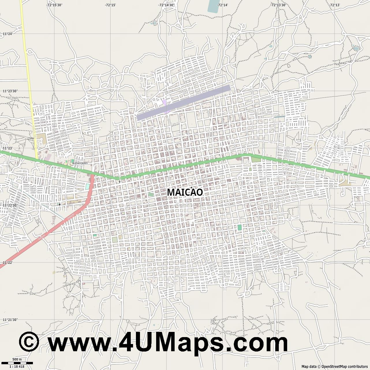 Maicao  jpg ultra high detail preview vector city map