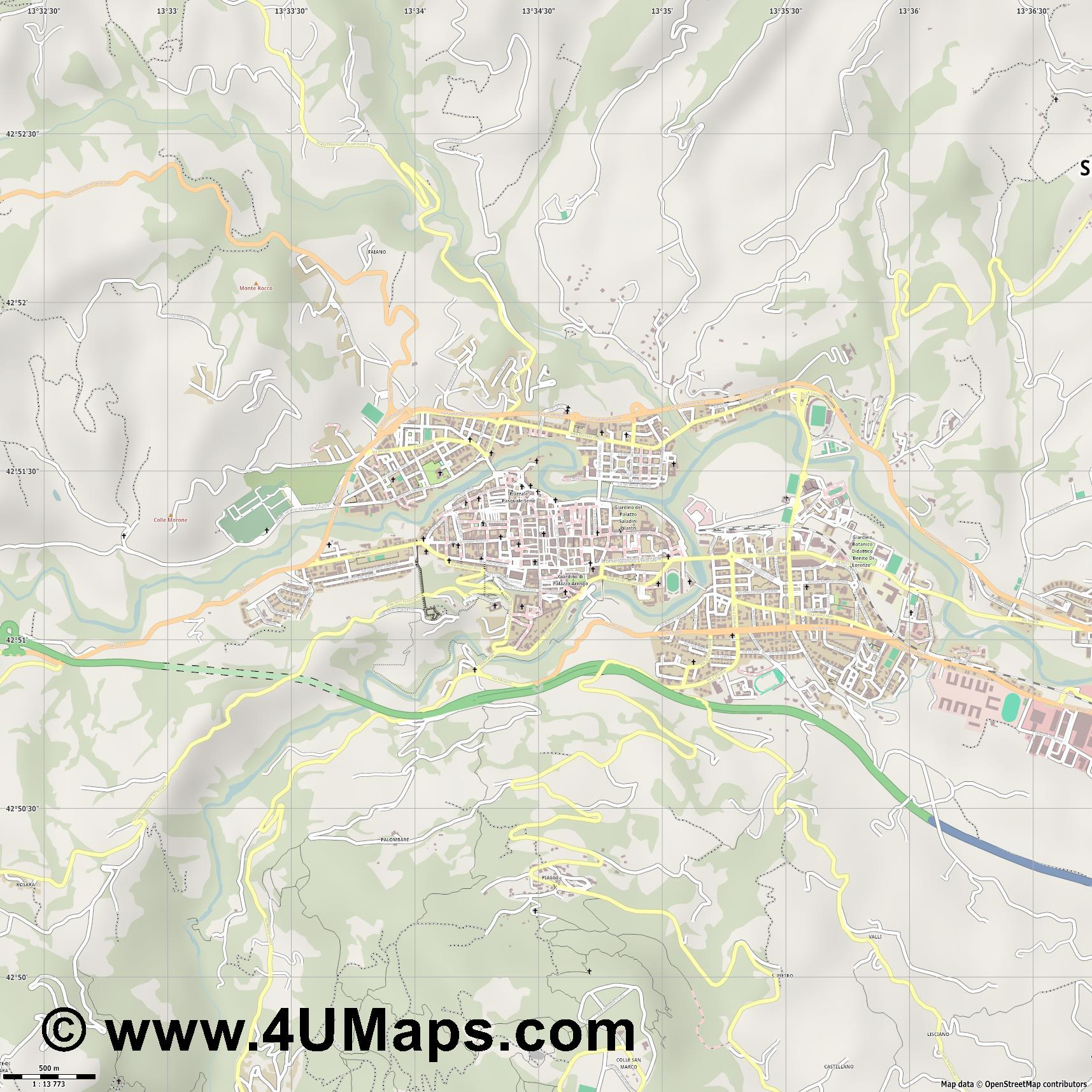 Ascoli Piceno  jpg ultra high detail preview vector city map