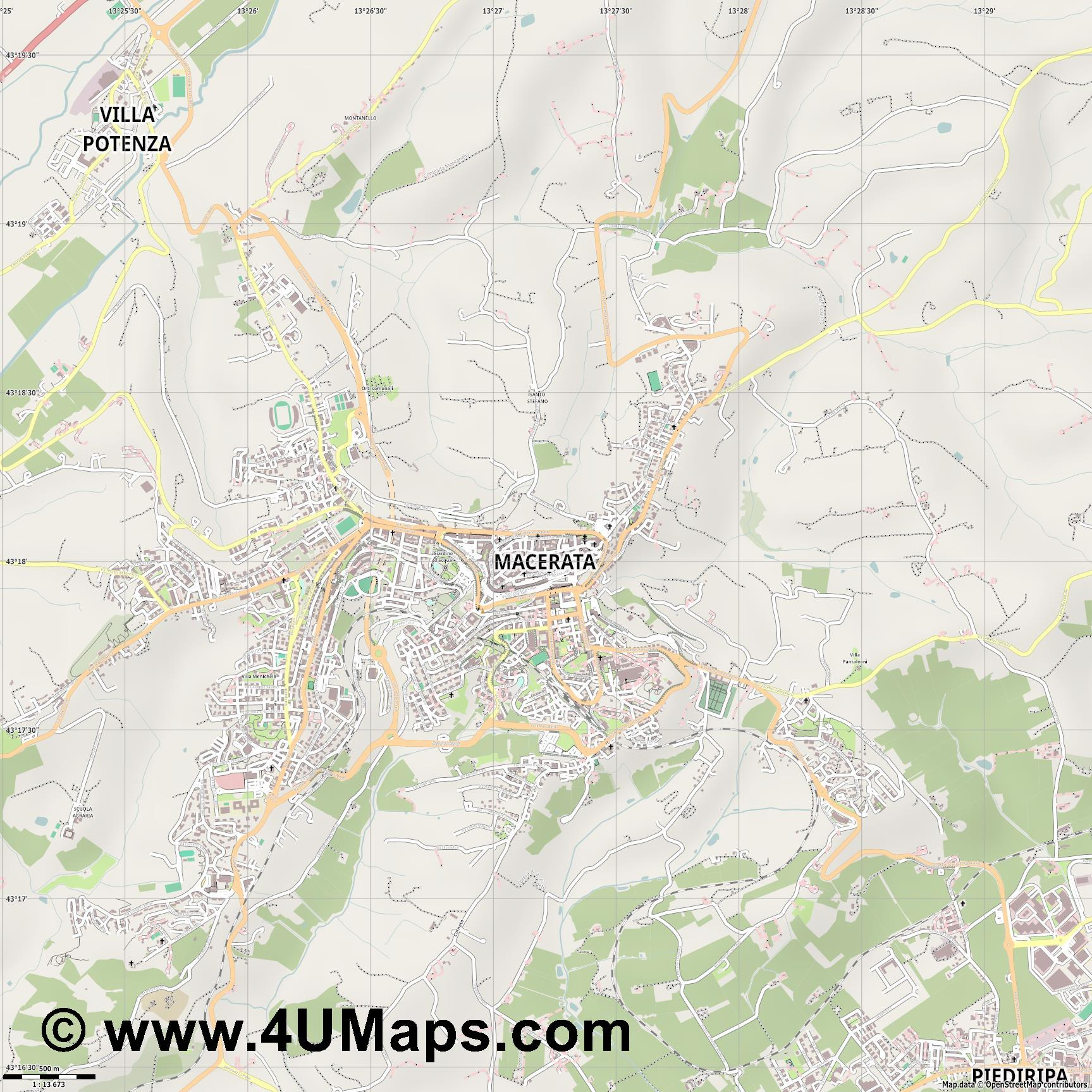 Macerata  jpg ultra high detail preview vector city map