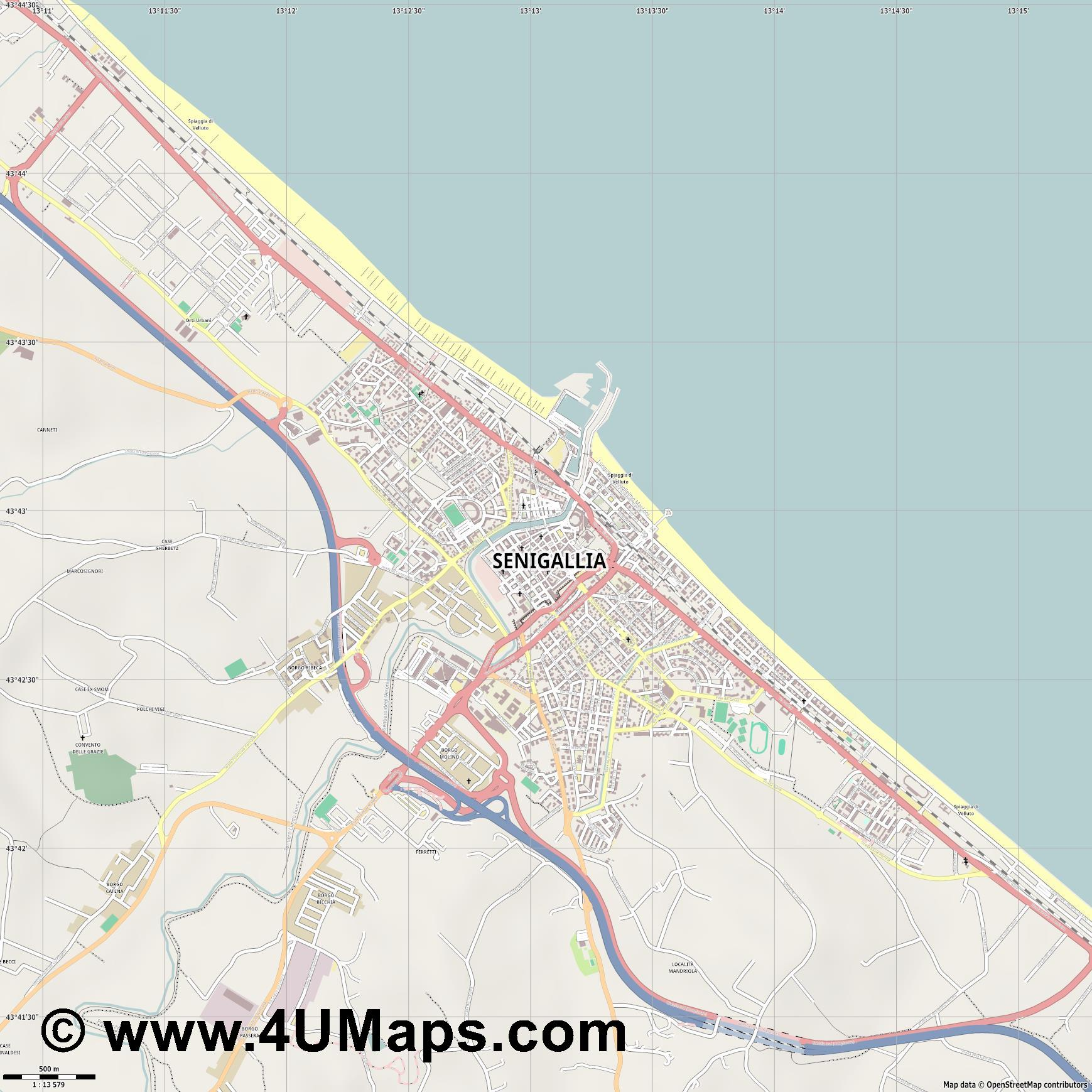 Senigallia  jpg ultra high detail preview vector city map