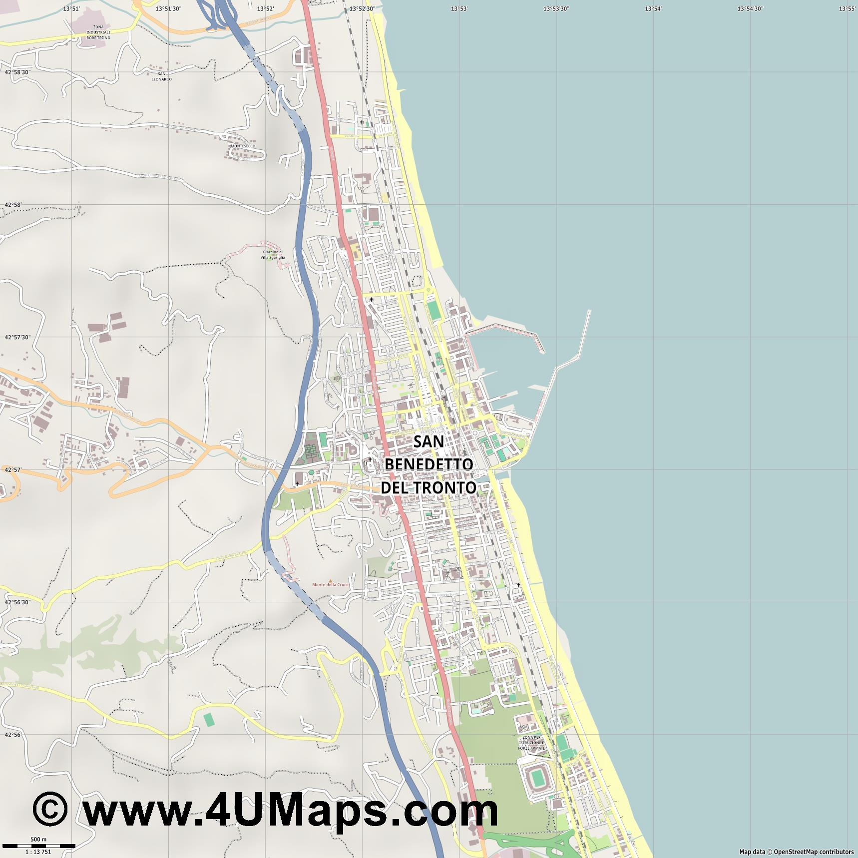 San Benedetto del Tronto  jpg ultra high detail preview vector city map