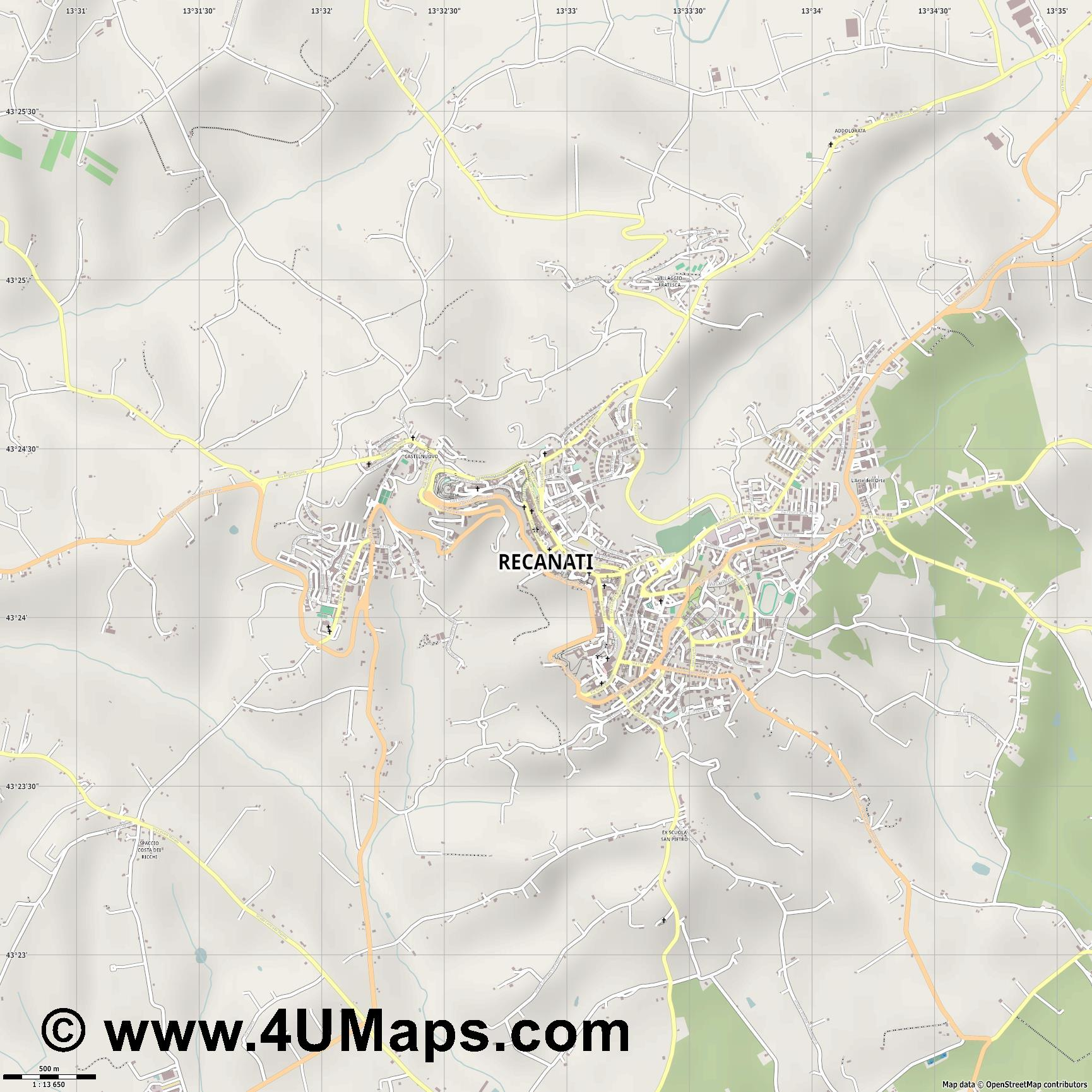 Recanati  jpg ultra high detail preview vector city map