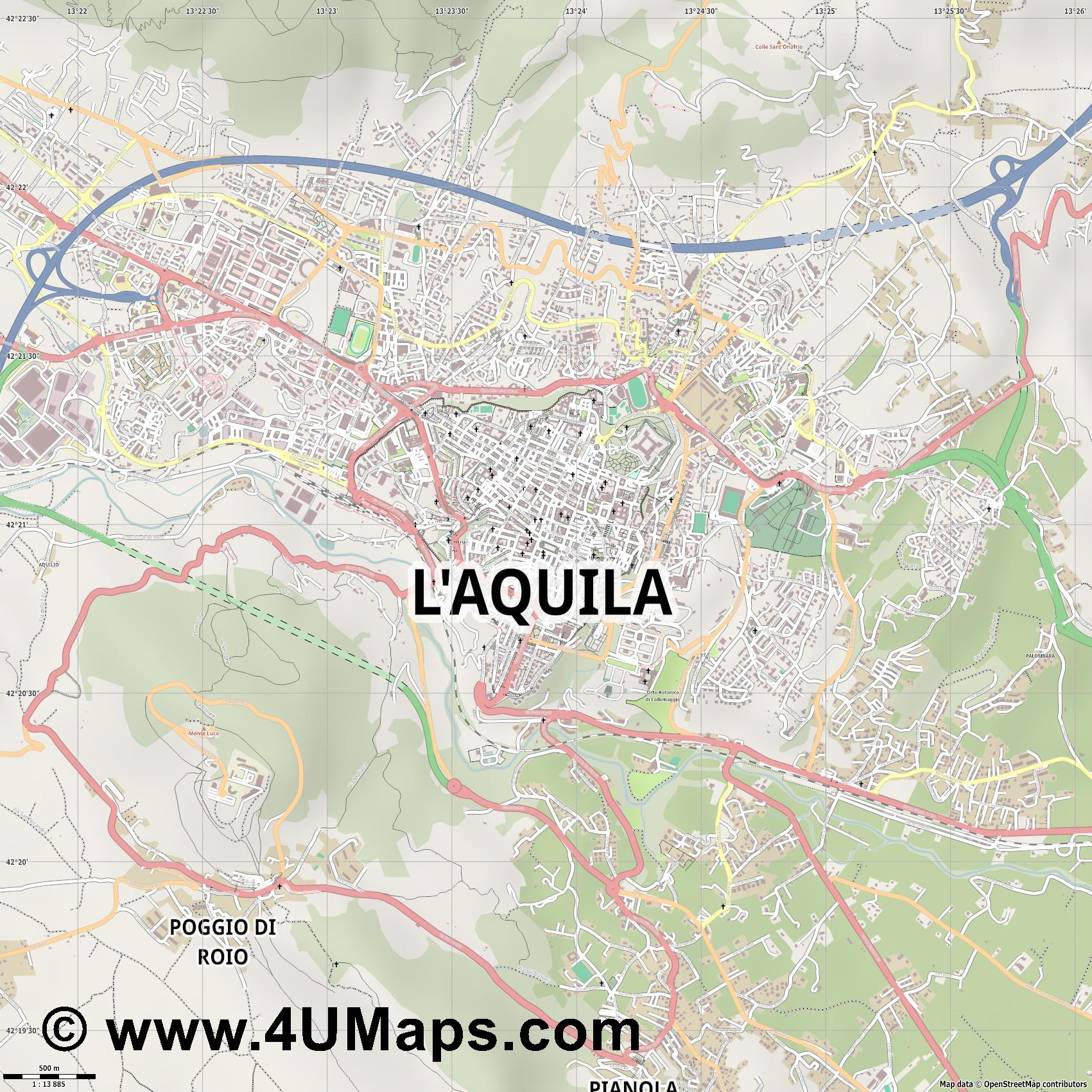 L Aquila  jpg ultra high detail preview vector city map