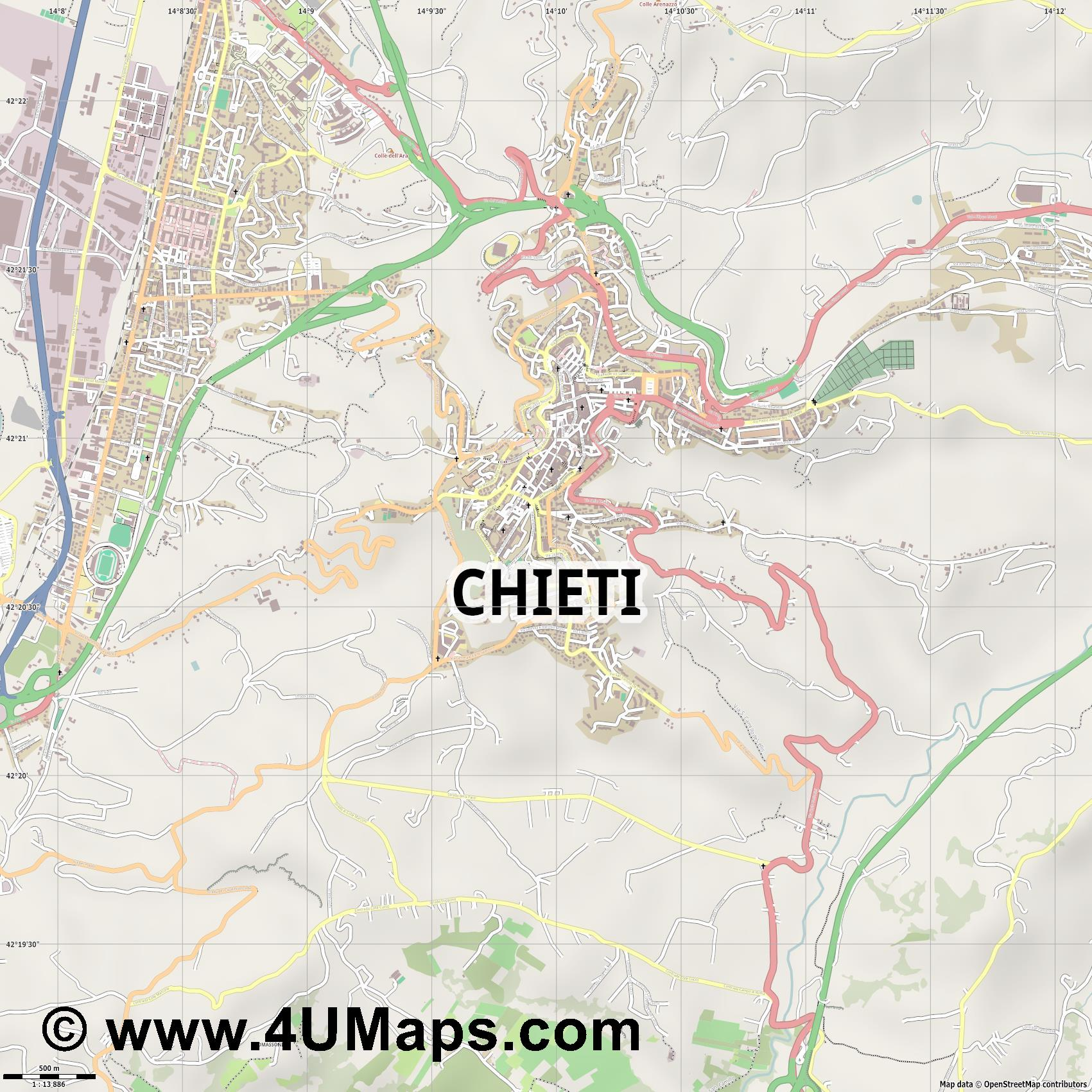 Chieti  jpg ultra high detail preview vector city map