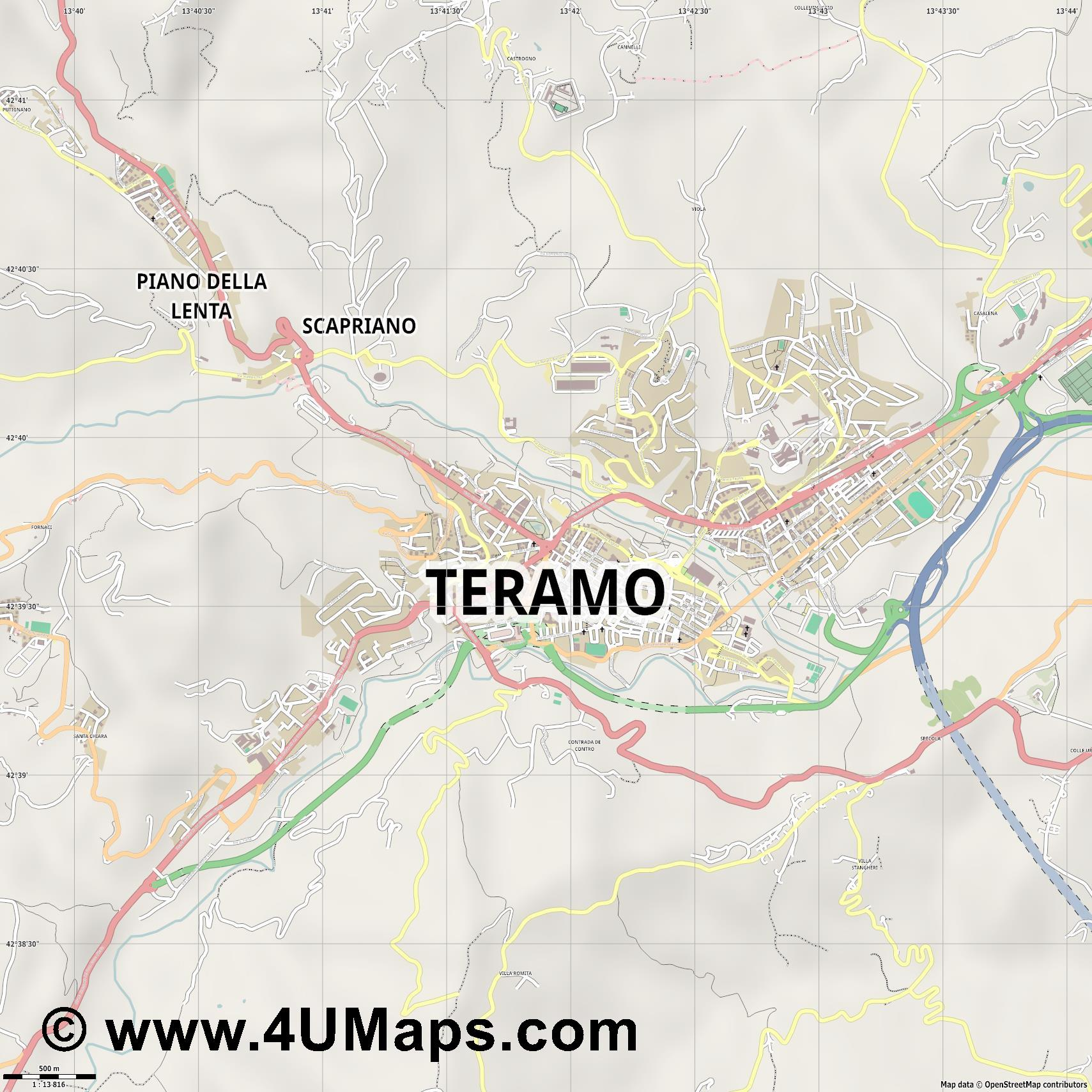 Teramo  jpg ultra high detail preview vector city map