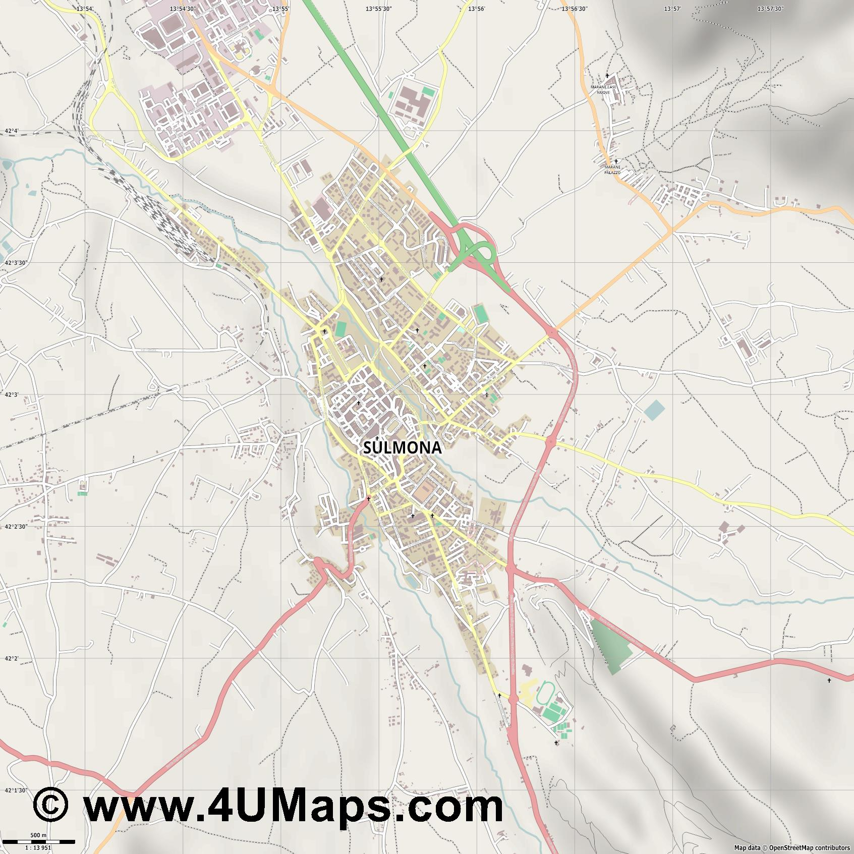 Sulmona  jpg ultra high detail preview vector city map