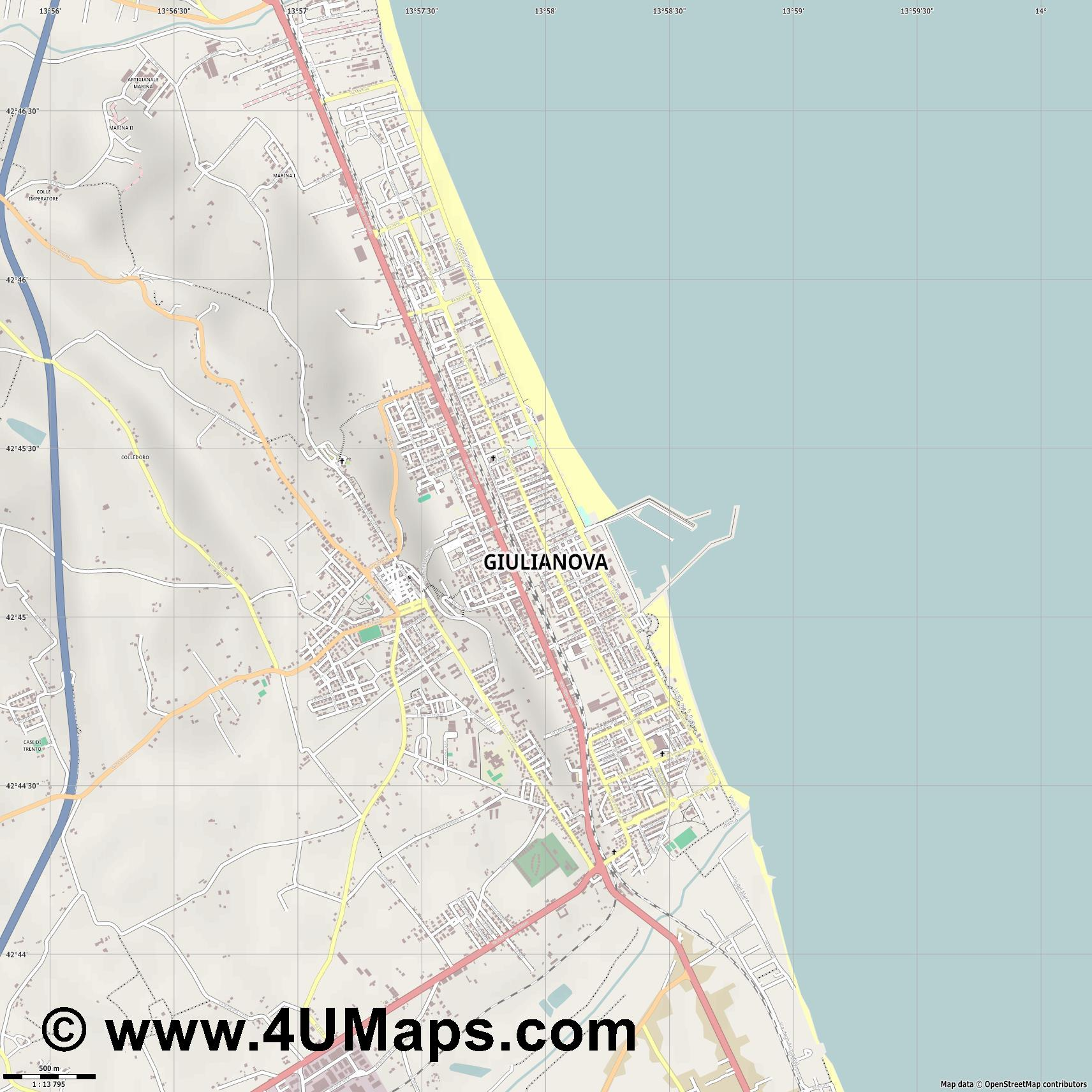 Giulianova  jpg ultra high detail preview vector city map