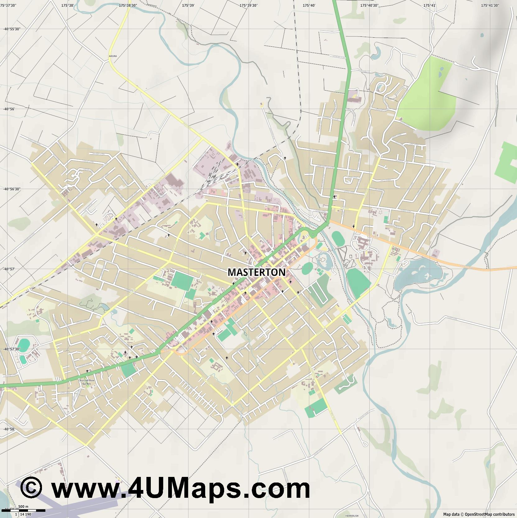 Masterton  jpg ultra high detail preview vector city map
