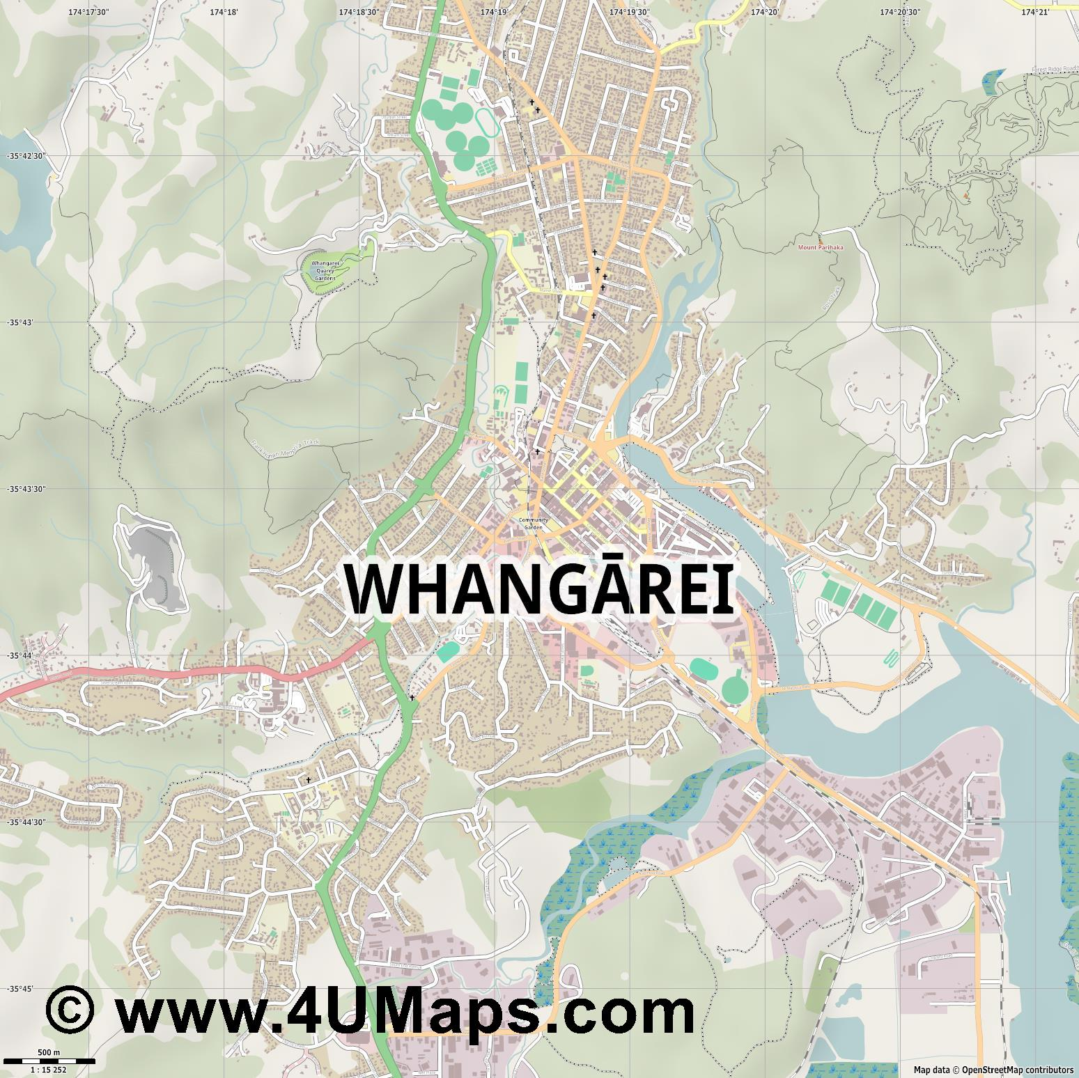 Whangarei  jpg ultra high detail preview vector city map