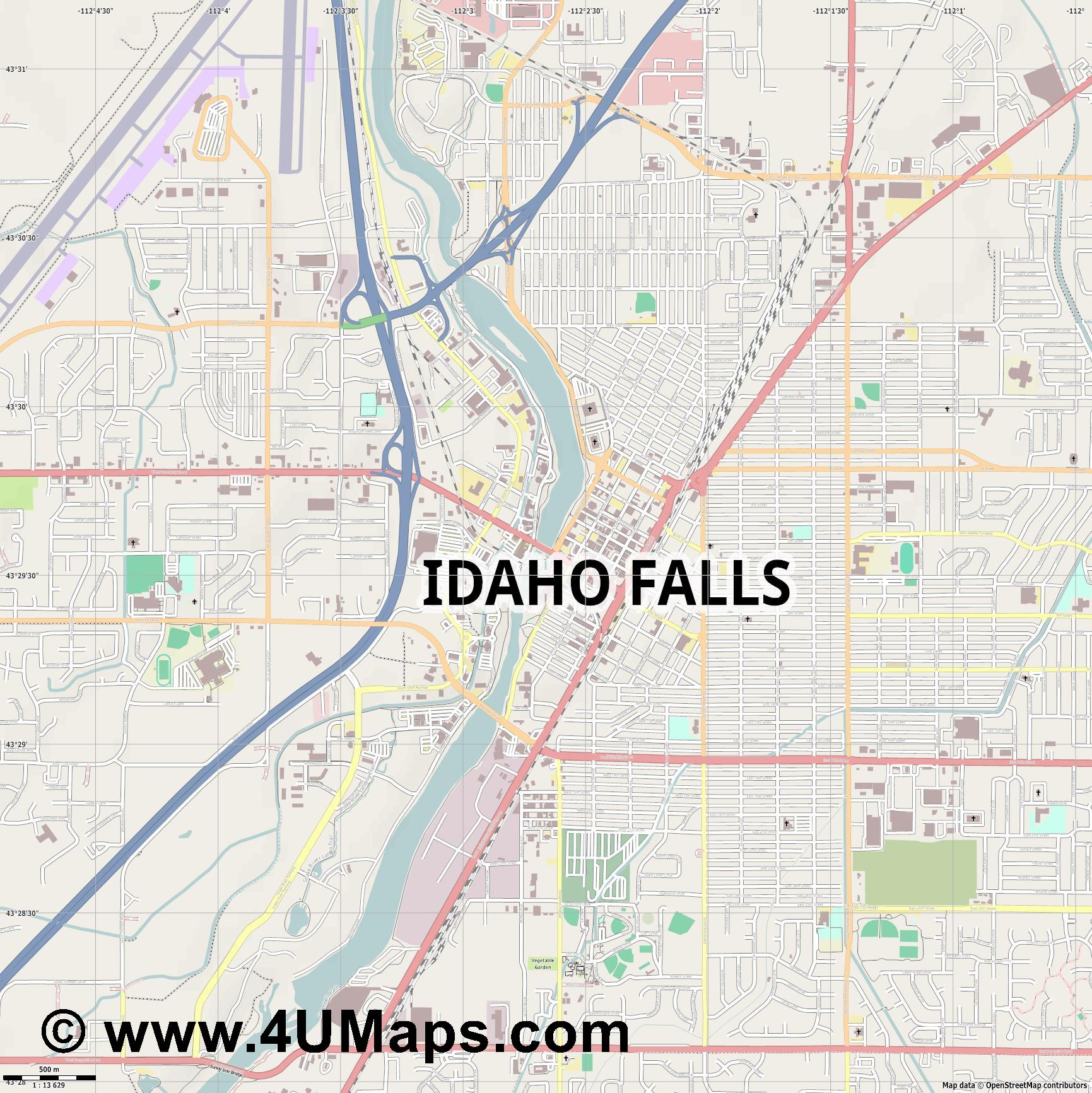 Idaho Falls  jpg ultra high detail preview vector city map