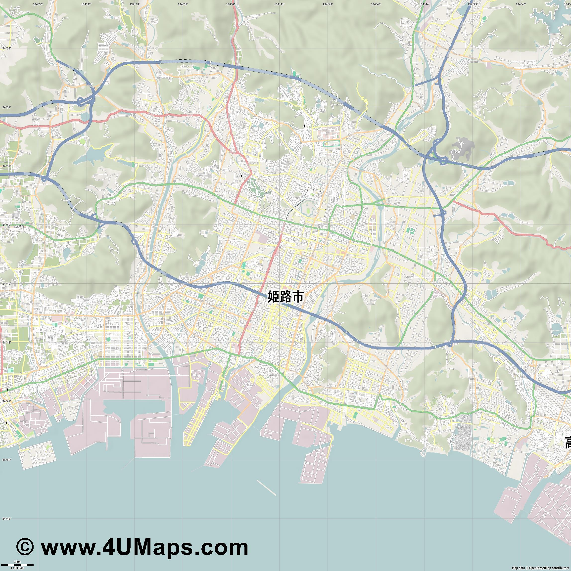 姫路市  Himeji   jpg high detail, large area preview vector city map