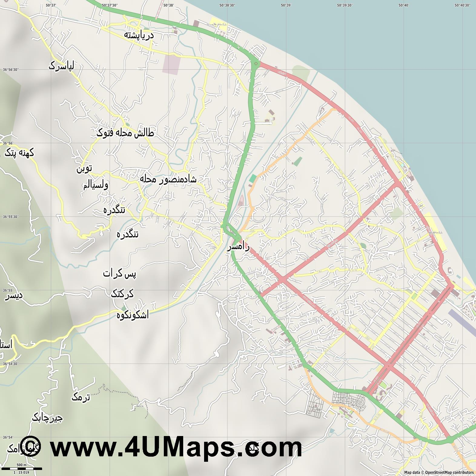 رامسر Ramsar  jpg ultra high detail preview vector city map