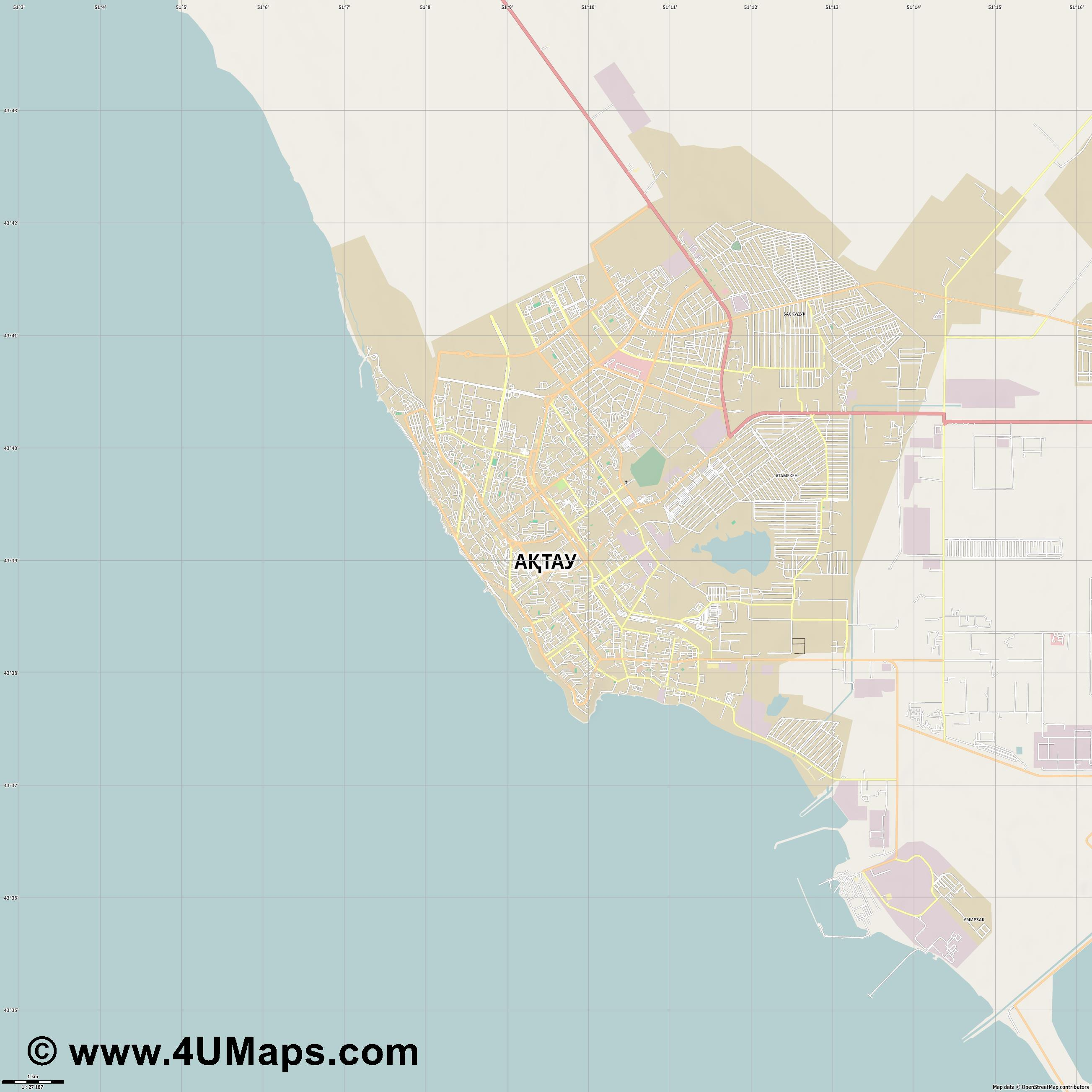 Актау Aktau Aktaou Aqtau  jpg high detail, large area preview vector city map