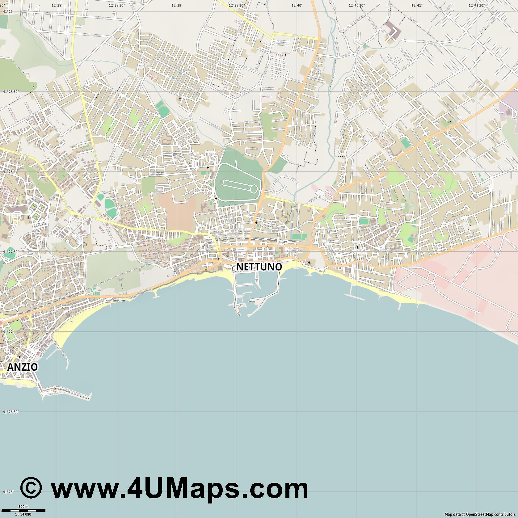 Nettuno  jpg ultra high detail preview vector city map