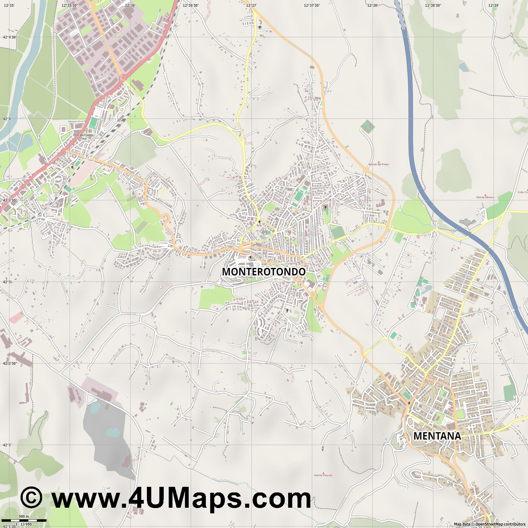 Monterotondo  jpg ultra high detail preview vector city map