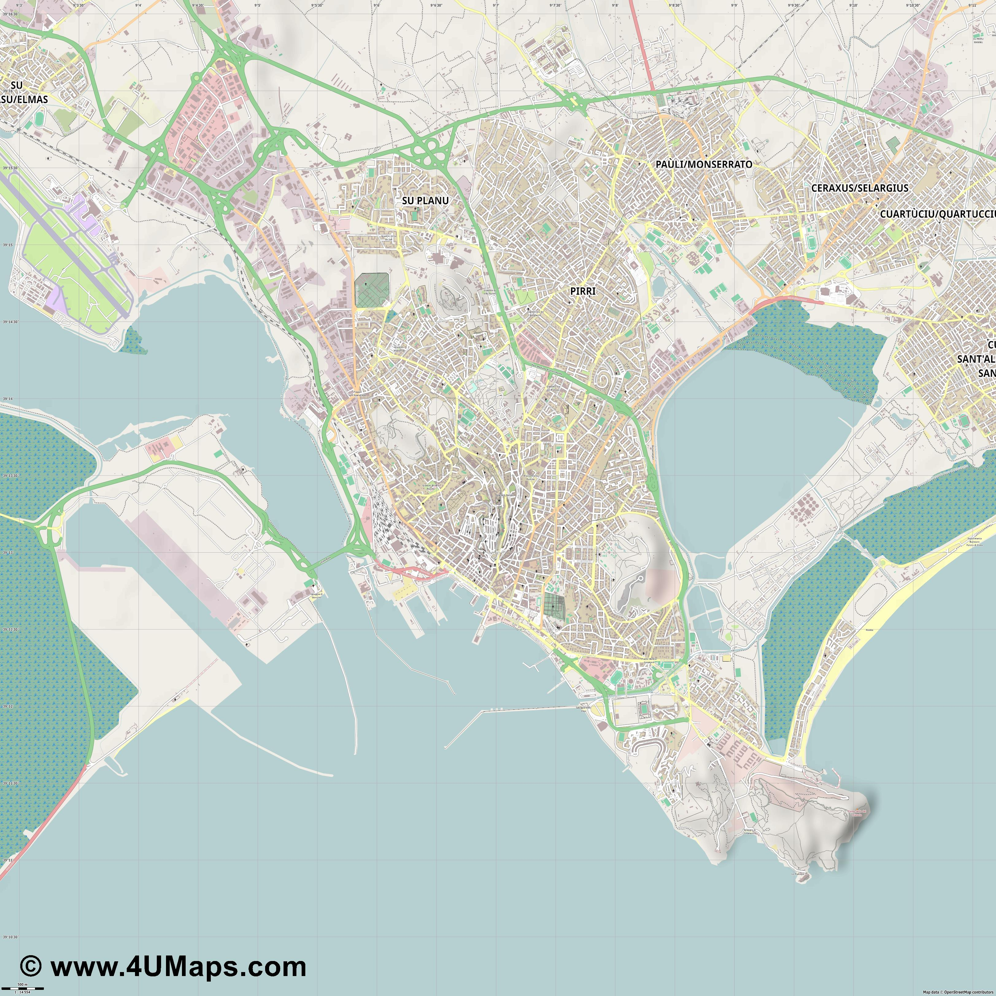 Cagliari  jpg ultra high detail preview vector city map