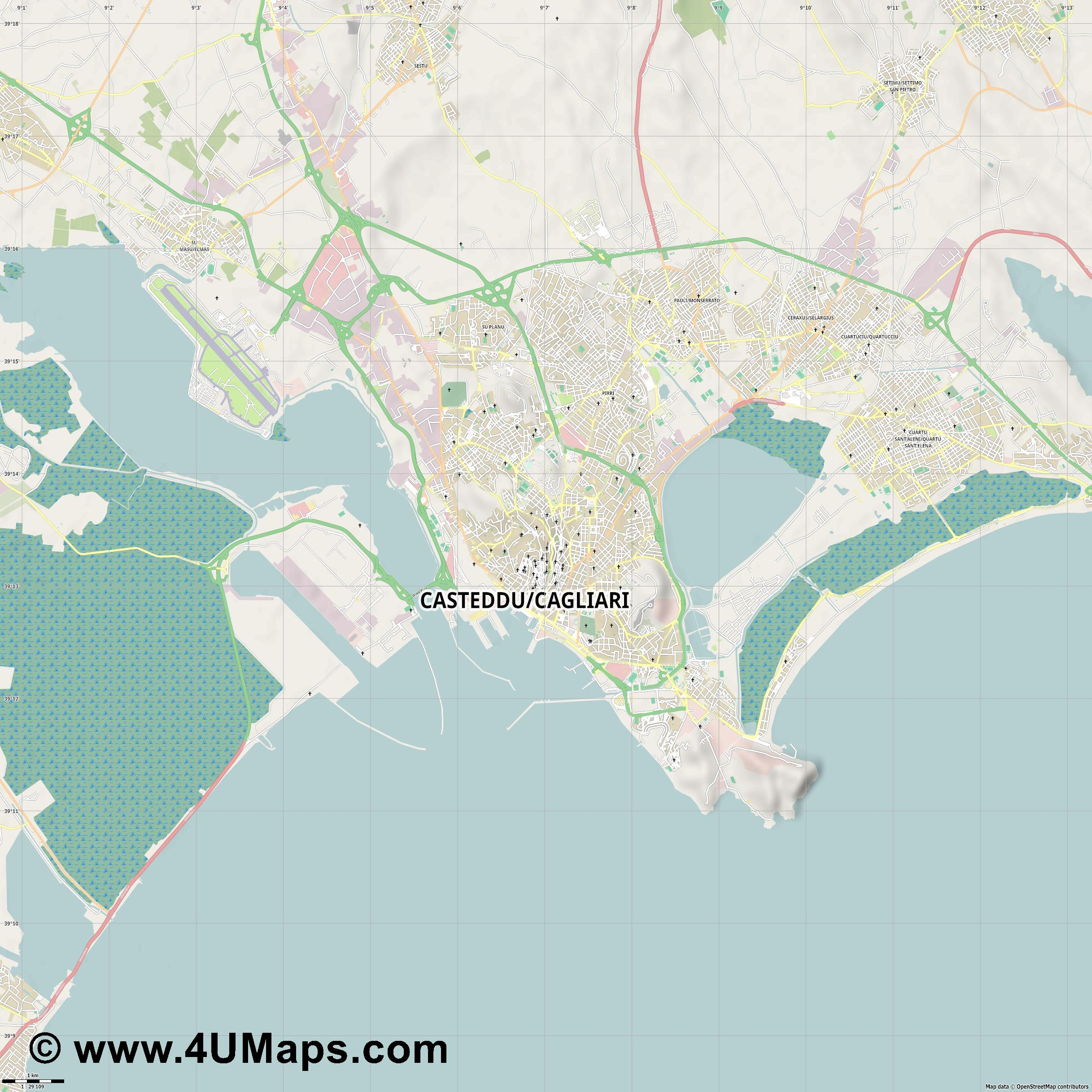 Cagliari  jpg high detail, large area preview vector city map