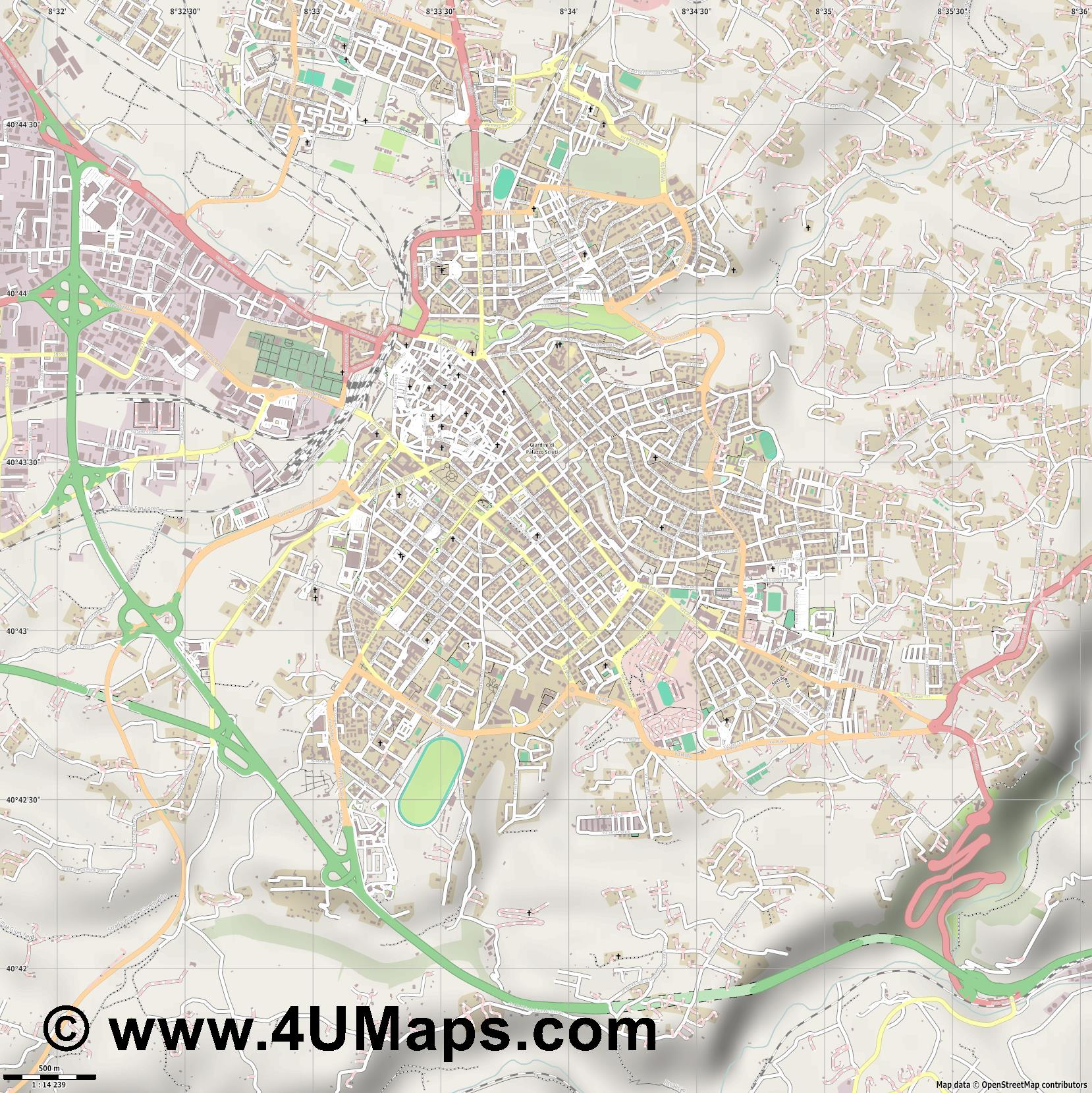 Sassari  jpg ultra high detail preview vector city map