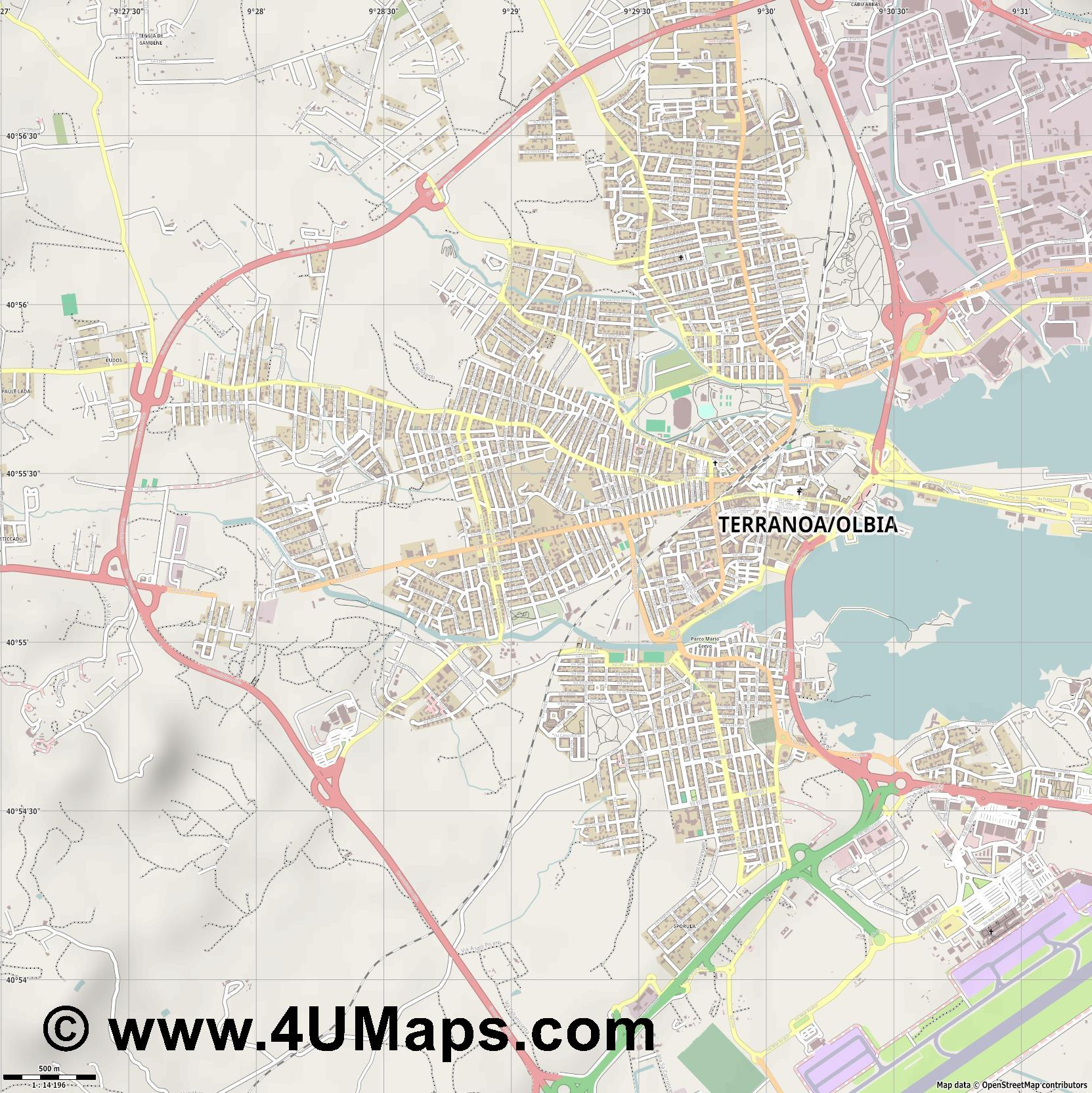 Olbia  jpg ultra high detail preview vector city map