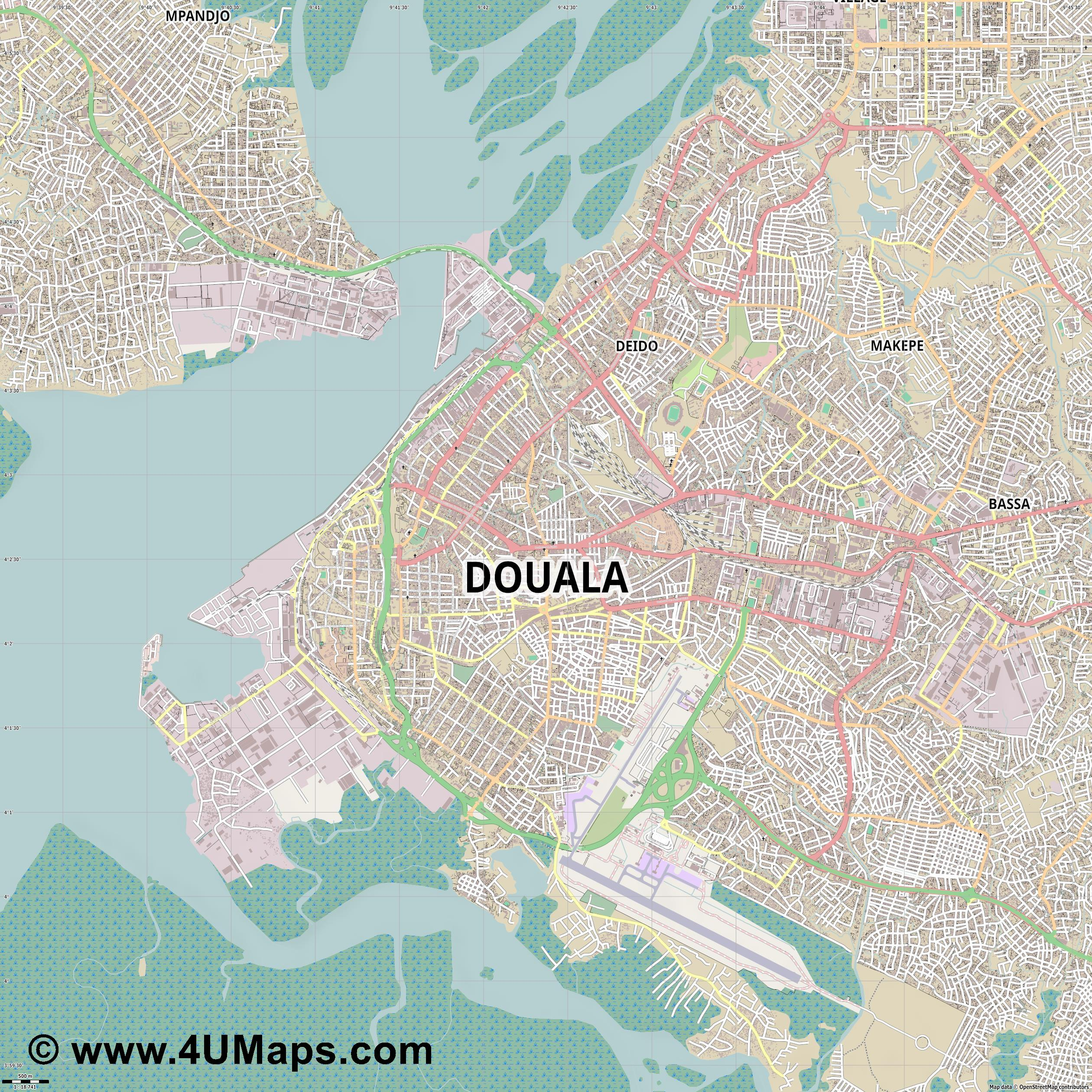 Douala Duala  jpg ultra high detail preview vector city map