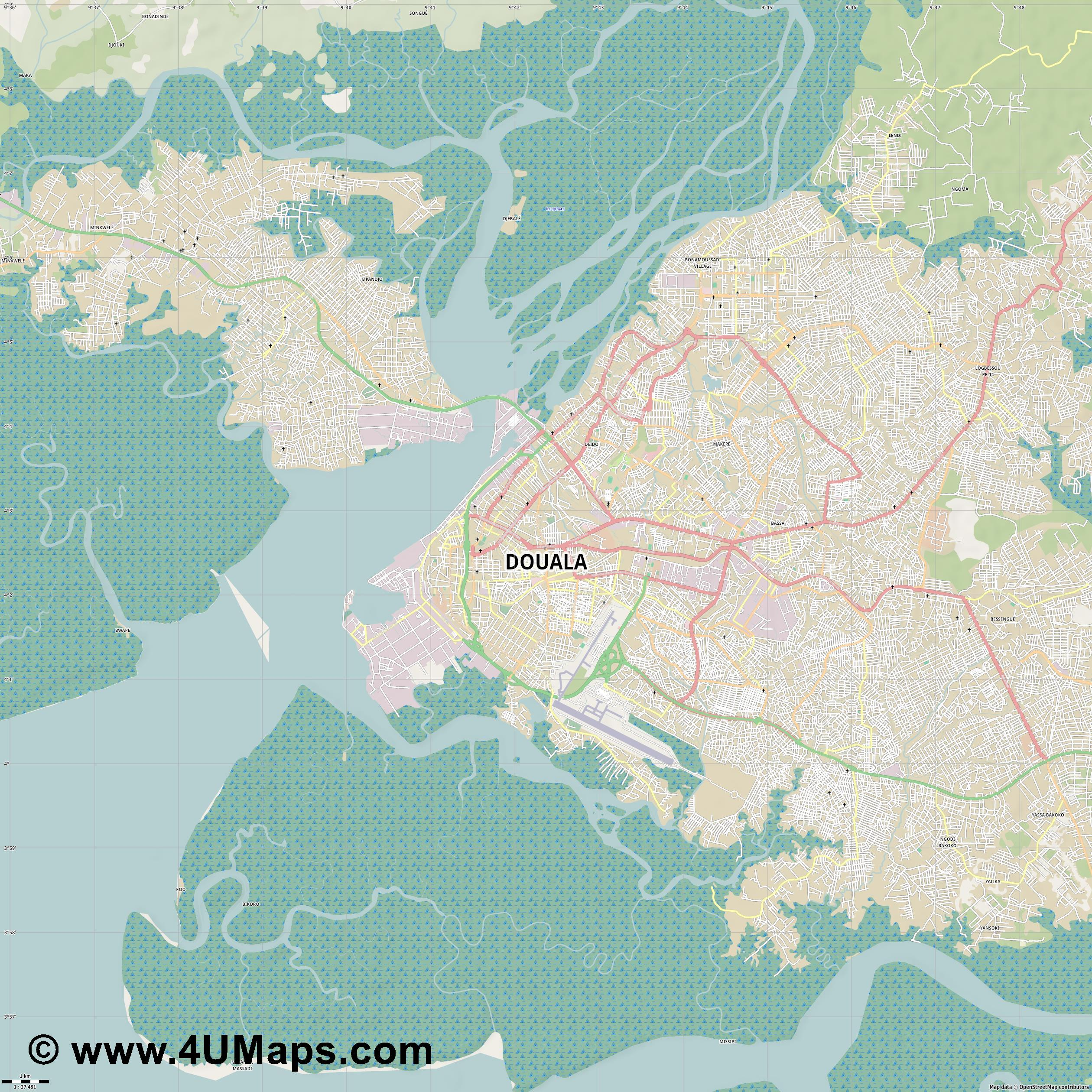Douala Duala  jpg high detail, large area preview vector city map