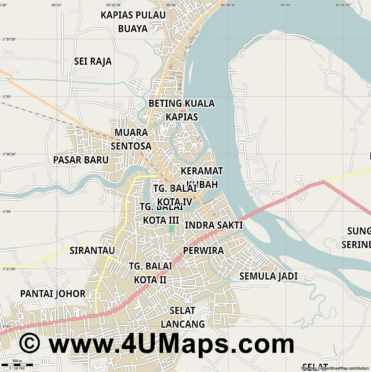 Tanjung Balai Tanjungbalai  jpg ultra high detail preview vector city map
