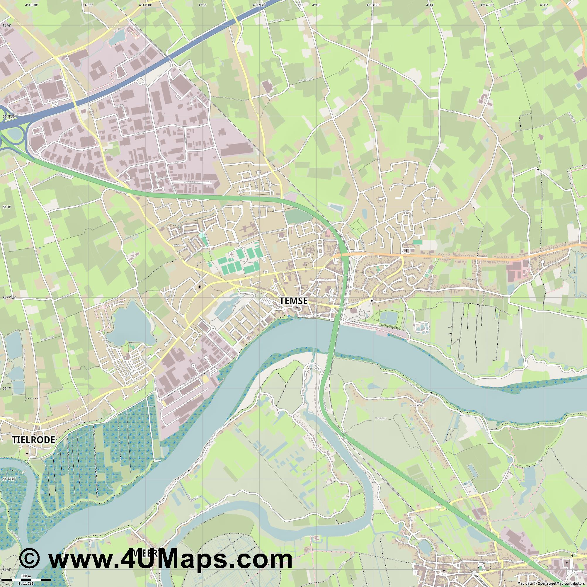 Temse Tamise  jpg ultra high detail preview vector city map